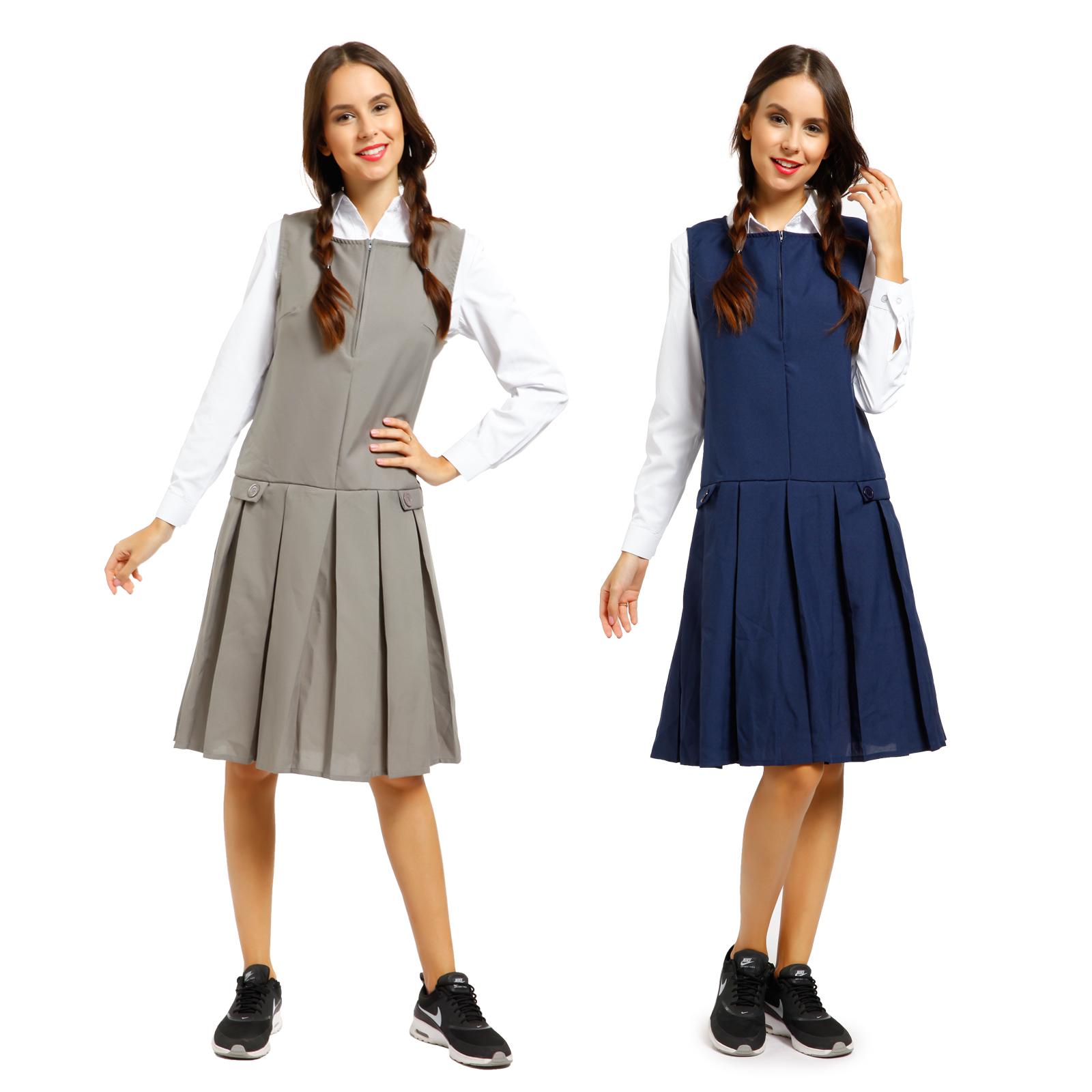 Girls School Uniform School Wear Sleeveless Zip Front Pleated ...