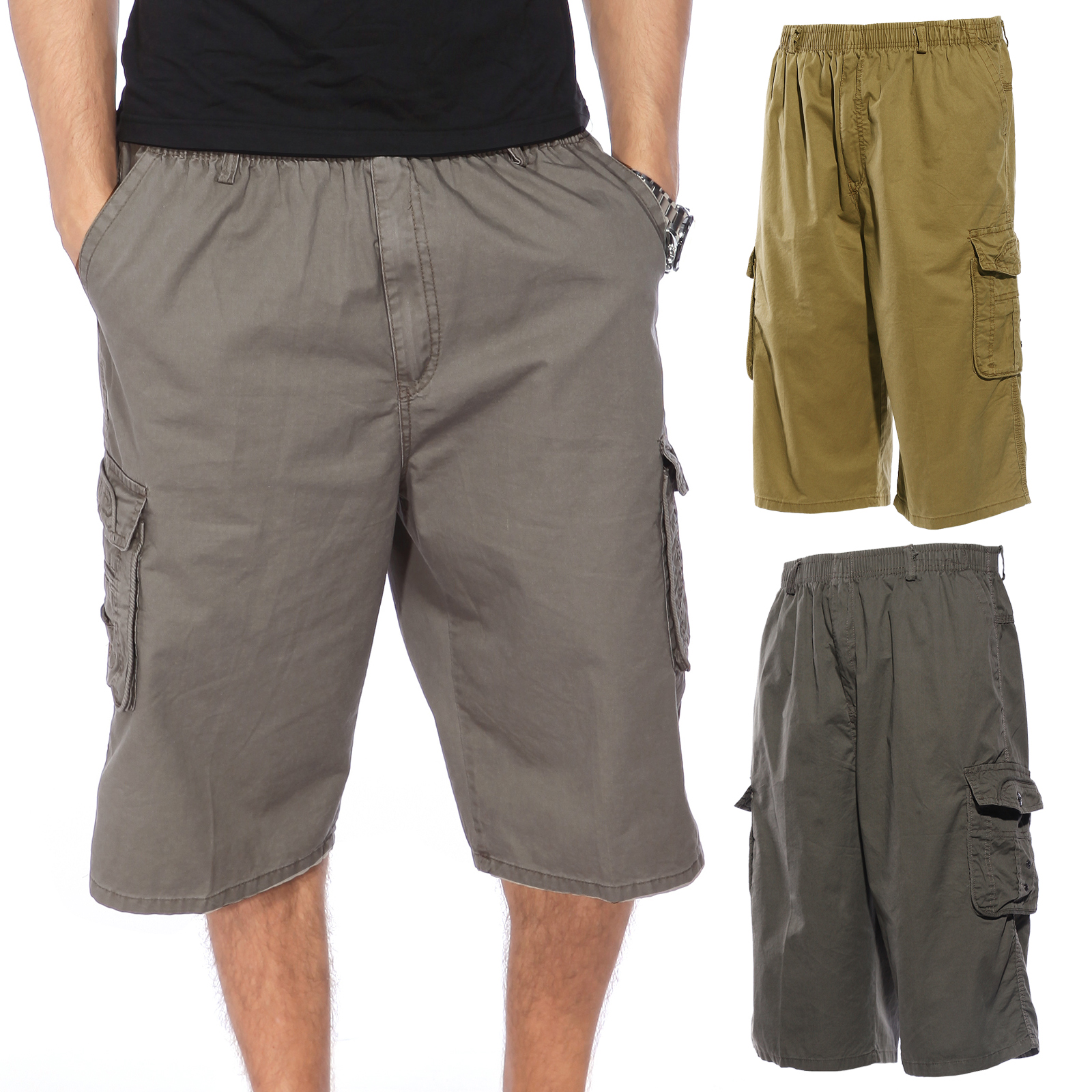 Mens 3/4 Length Cargo Casual Cotton Summer Capri Work Shorts ...