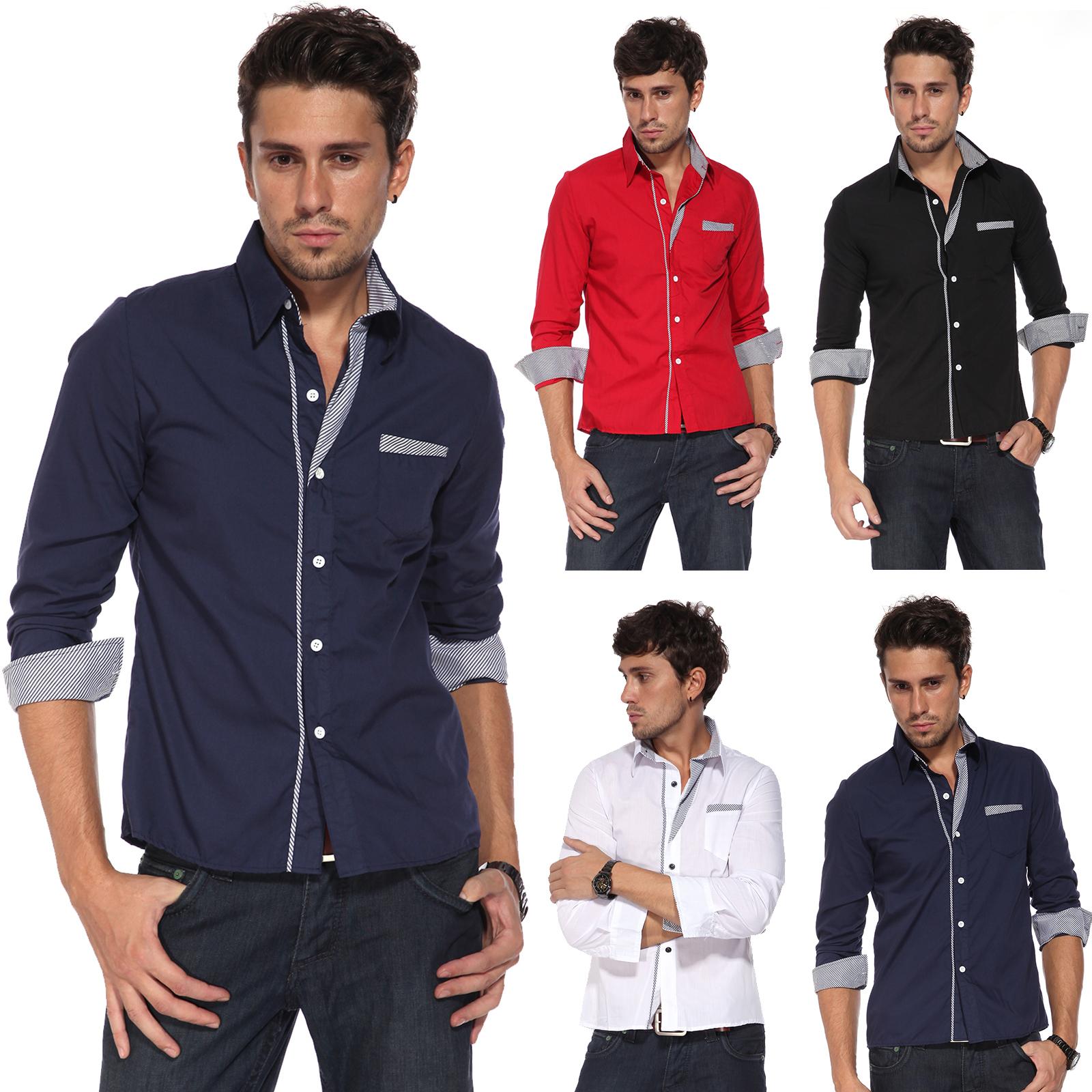 itm Chemise homme slim veste jean costume garcon shirt raye T vetement XS L couleur