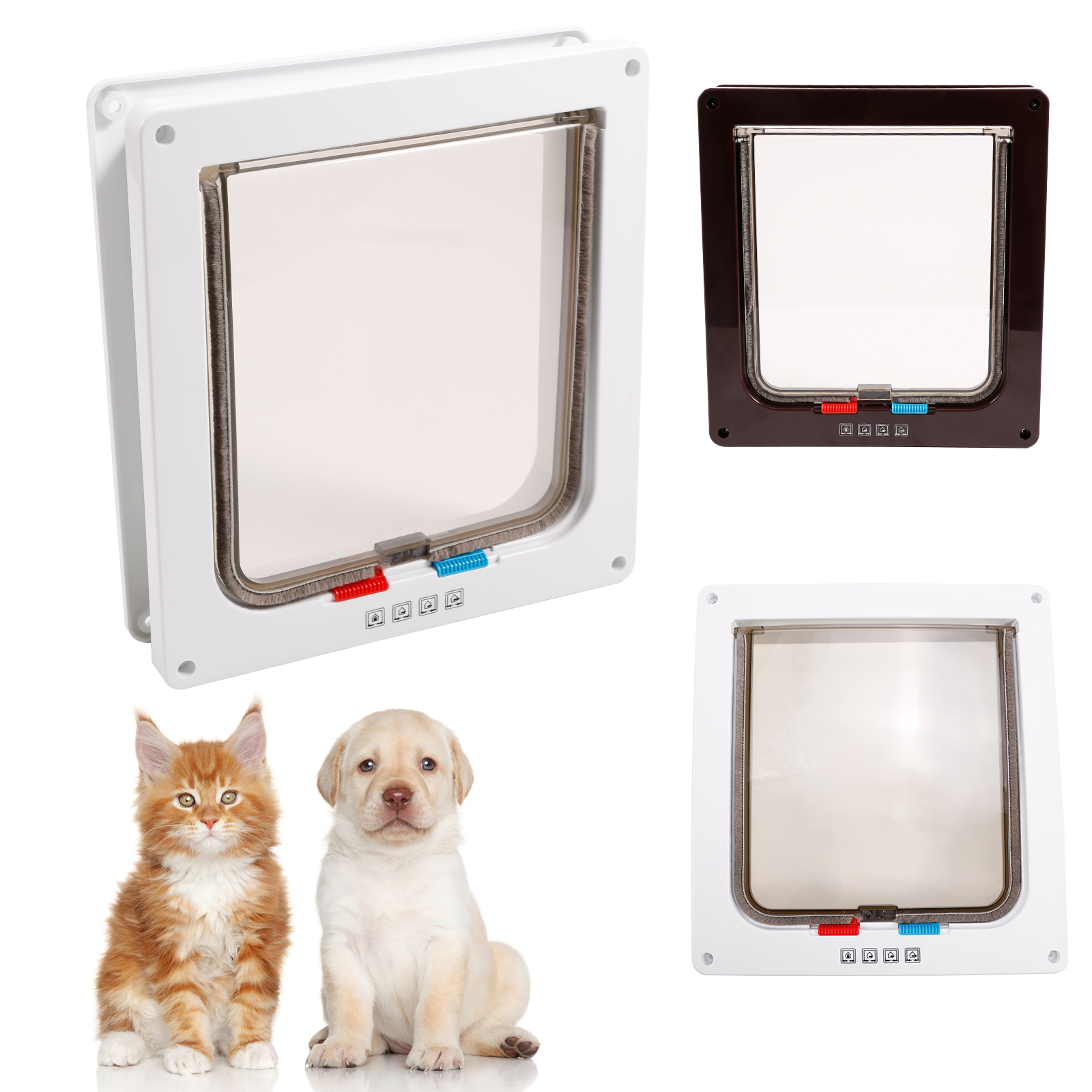 Test pets mate dog door cat flap puppy small pets 4 way for Dog door flap material