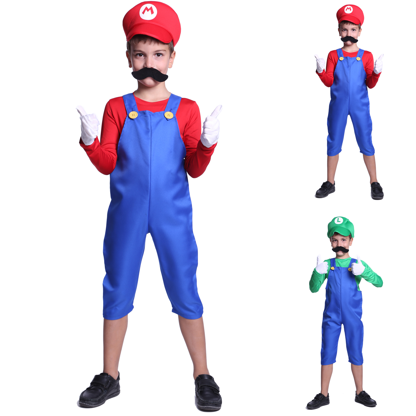 super mario luigi bro klempner kost m kinder jungen weihnachten party fasching ebay. Black Bedroom Furniture Sets. Home Design Ideas