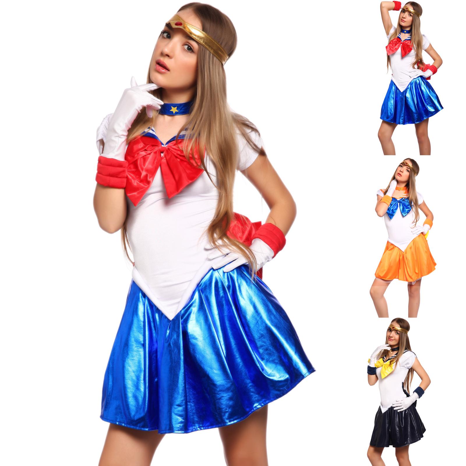 sexy 5tlg sailor moon venus uranus kost m cosplay schulm dchen matrose uniform ebay. Black Bedroom Furniture Sets. Home Design Ideas