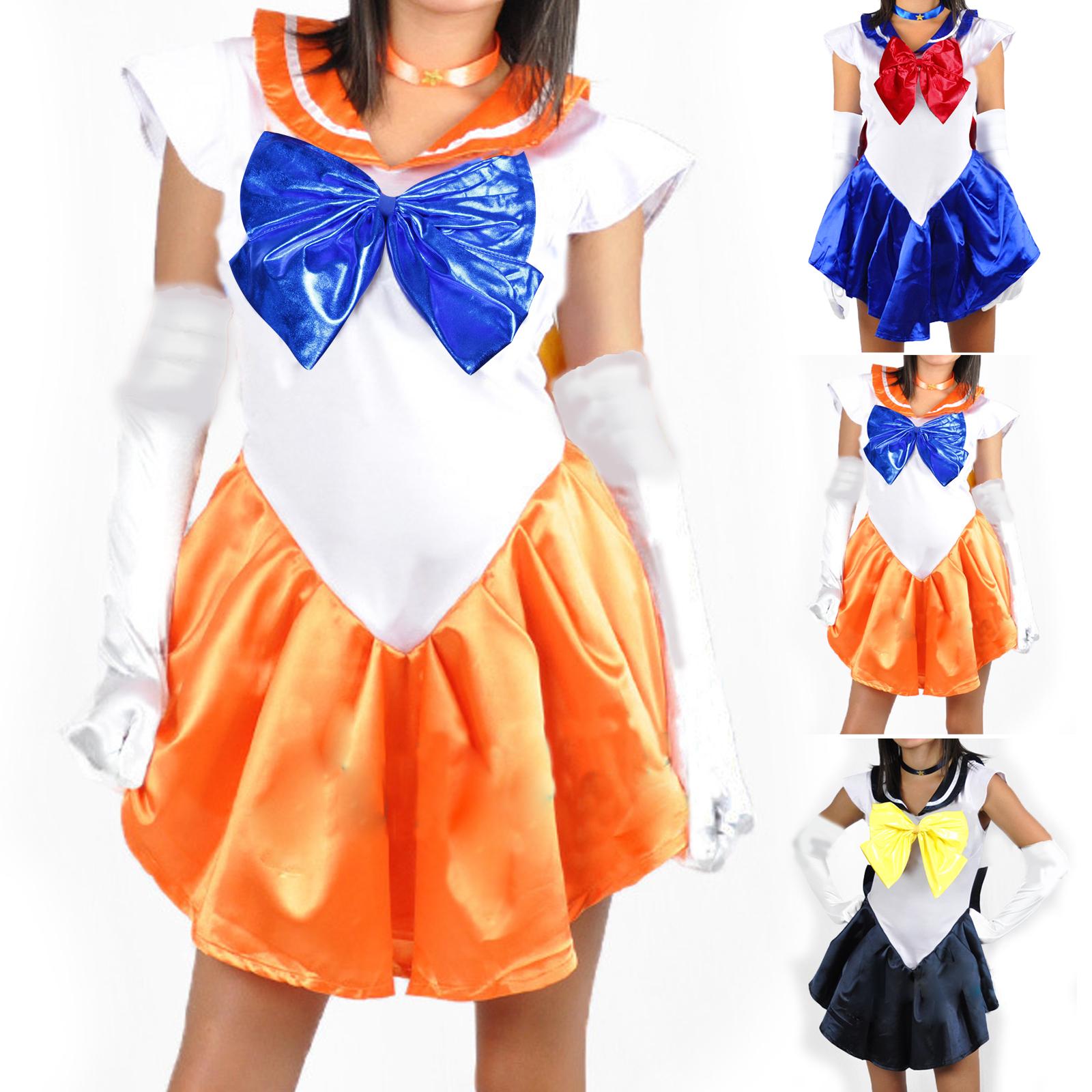 5tlg cosplay sailor moon kost m schulgirl schuluniform gr s orange ebay. Black Bedroom Furniture Sets. Home Design Ideas