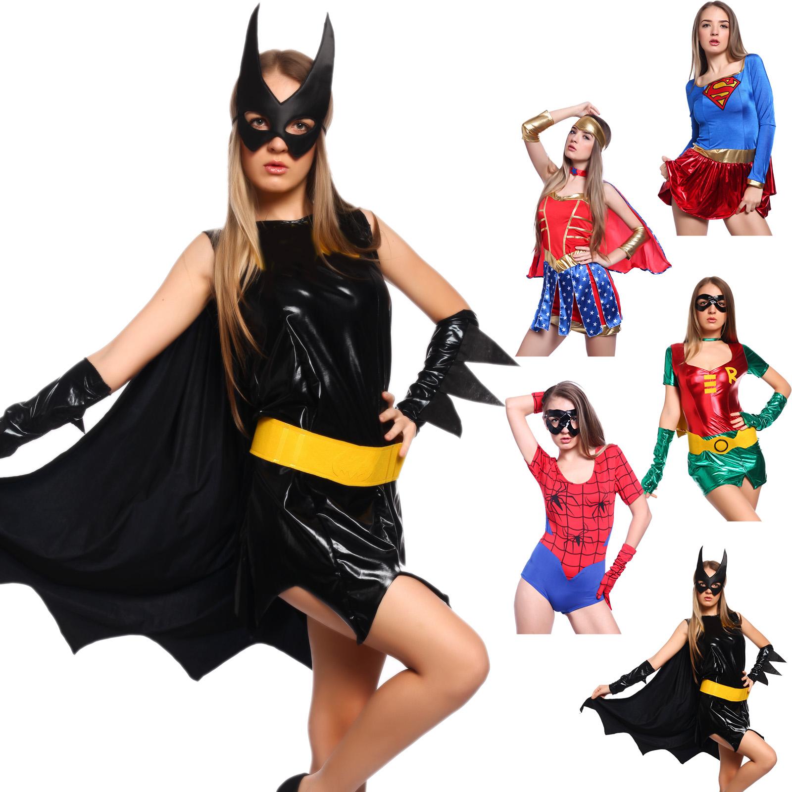 5 modelle kost m supergirl wonder woman sexy robin spidergirl batgirl karneval ebay. Black Bedroom Furniture Sets. Home Design Ideas