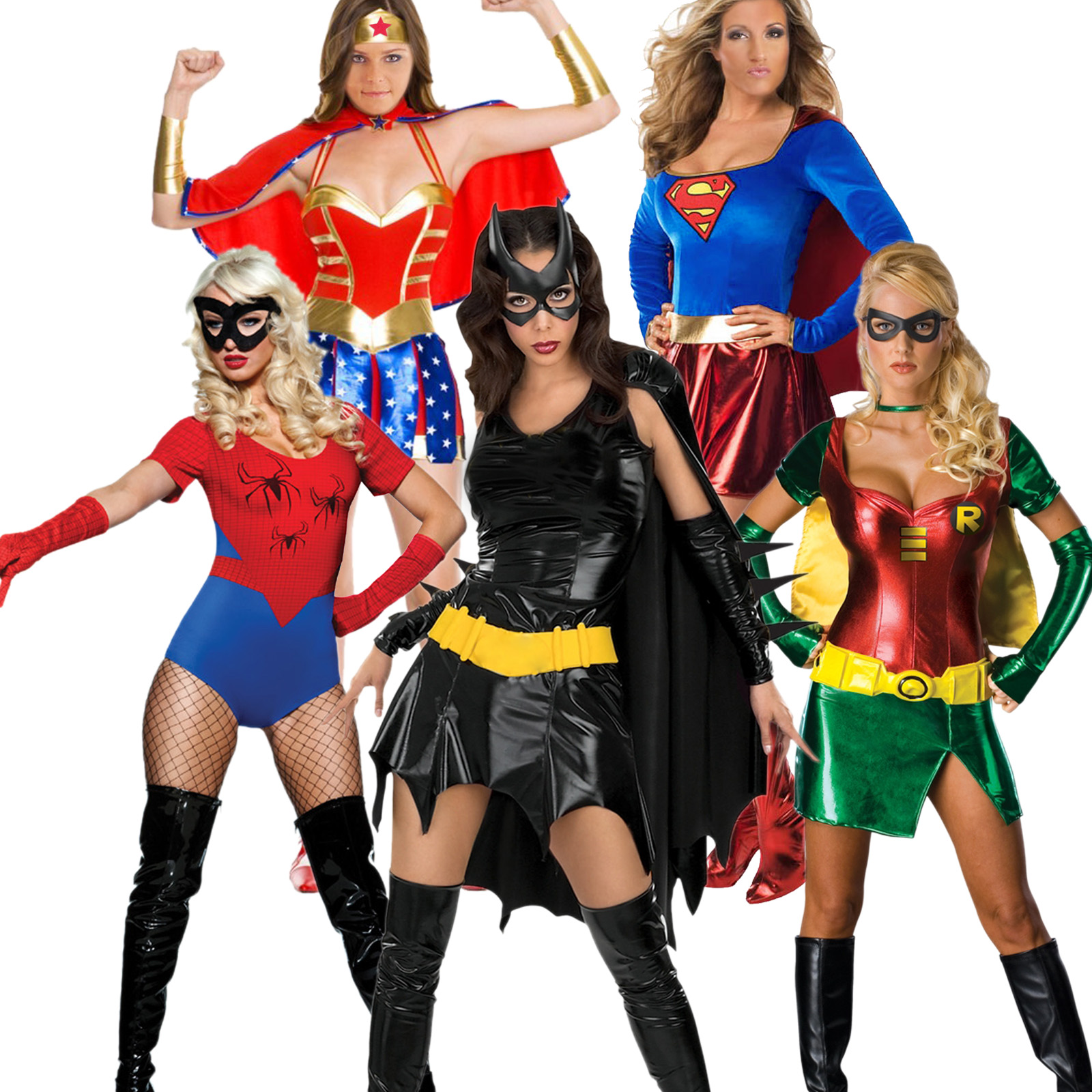 karneval kost m damen supergirl wonder woman sexy robin. Black Bedroom Furniture Sets. Home Design Ideas