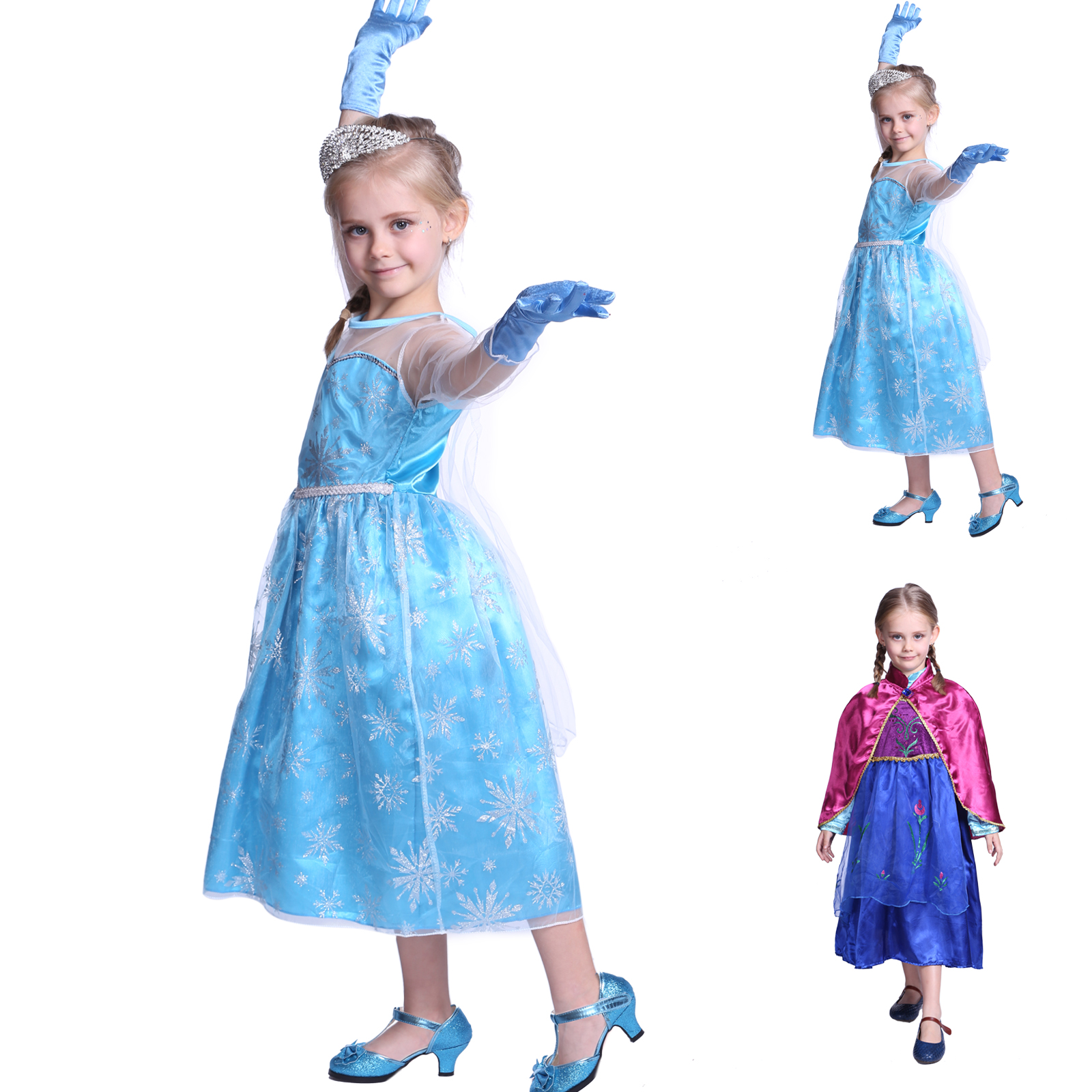 m dchen frozen eisk nigin elsa anna prinzessin festkleid kinder kost m karneval ebay. Black Bedroom Furniture Sets. Home Design Ideas