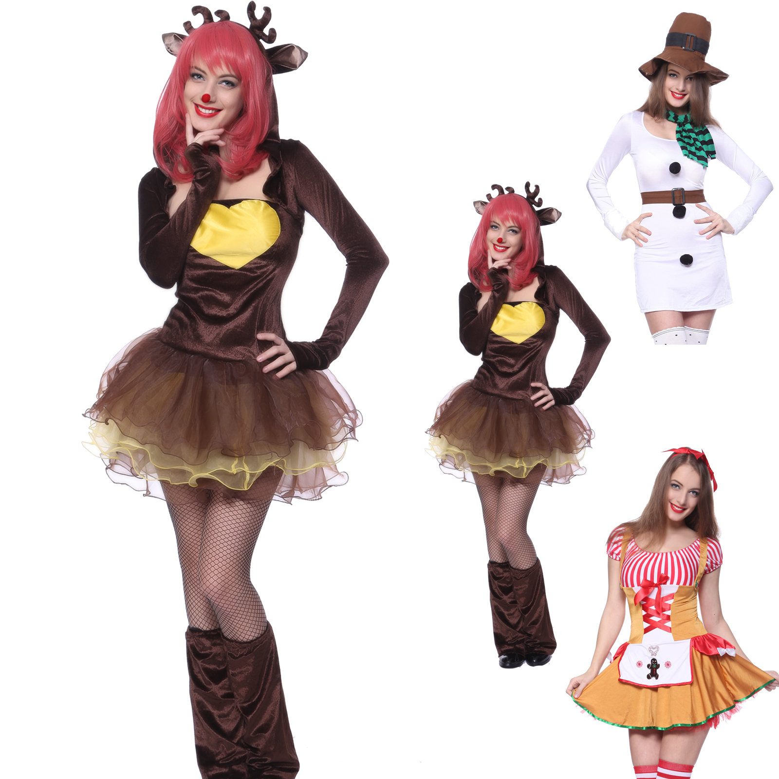 costume deguisement bonhomme cerf serveuse noel carnaval halloween femme fille ebay. Black Bedroom Furniture Sets. Home Design Ideas