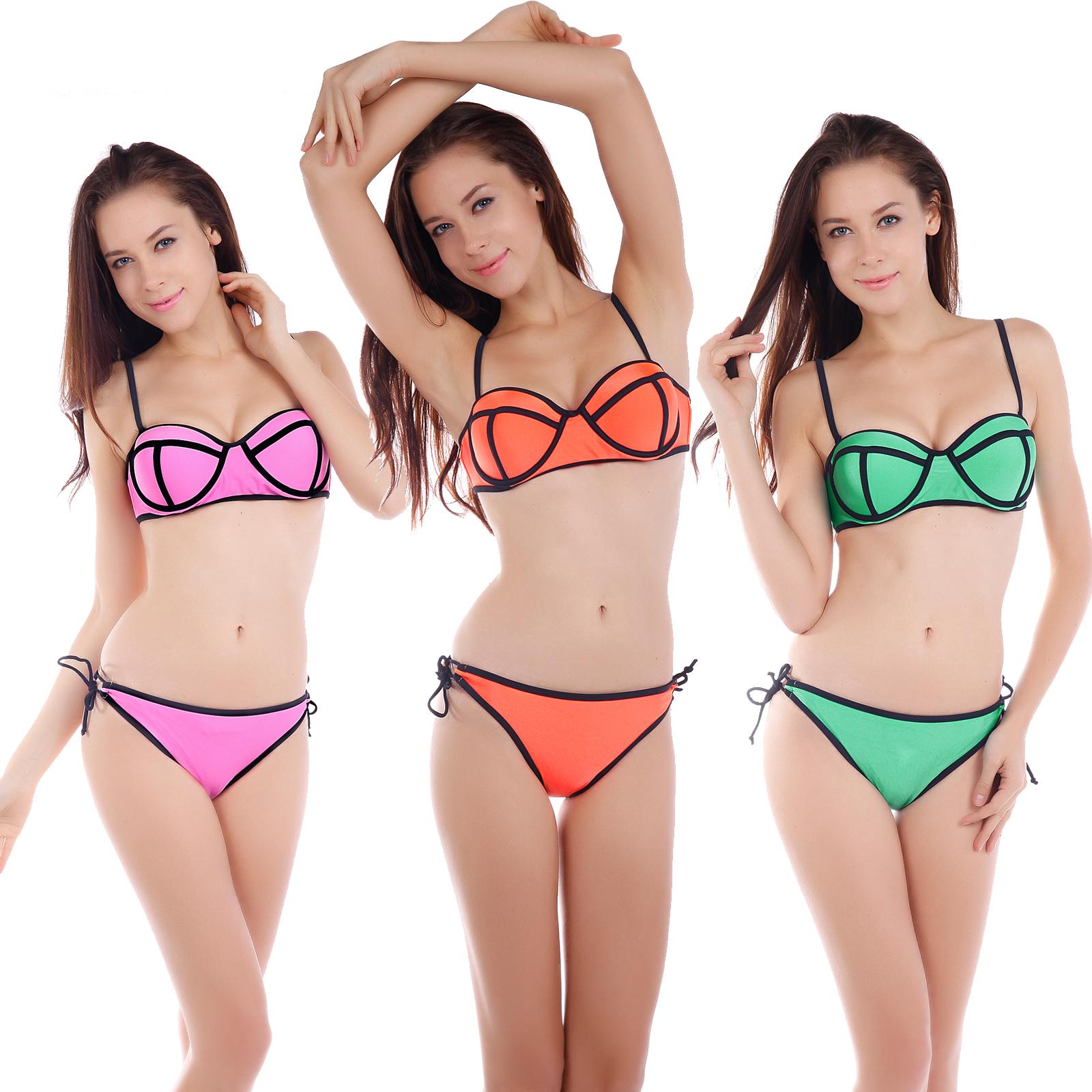 sexy ladies neoprene triangle bikini push up padded bandeau swimwear swimsuit ebay. Black Bedroom Furniture Sets. Home Design Ideas