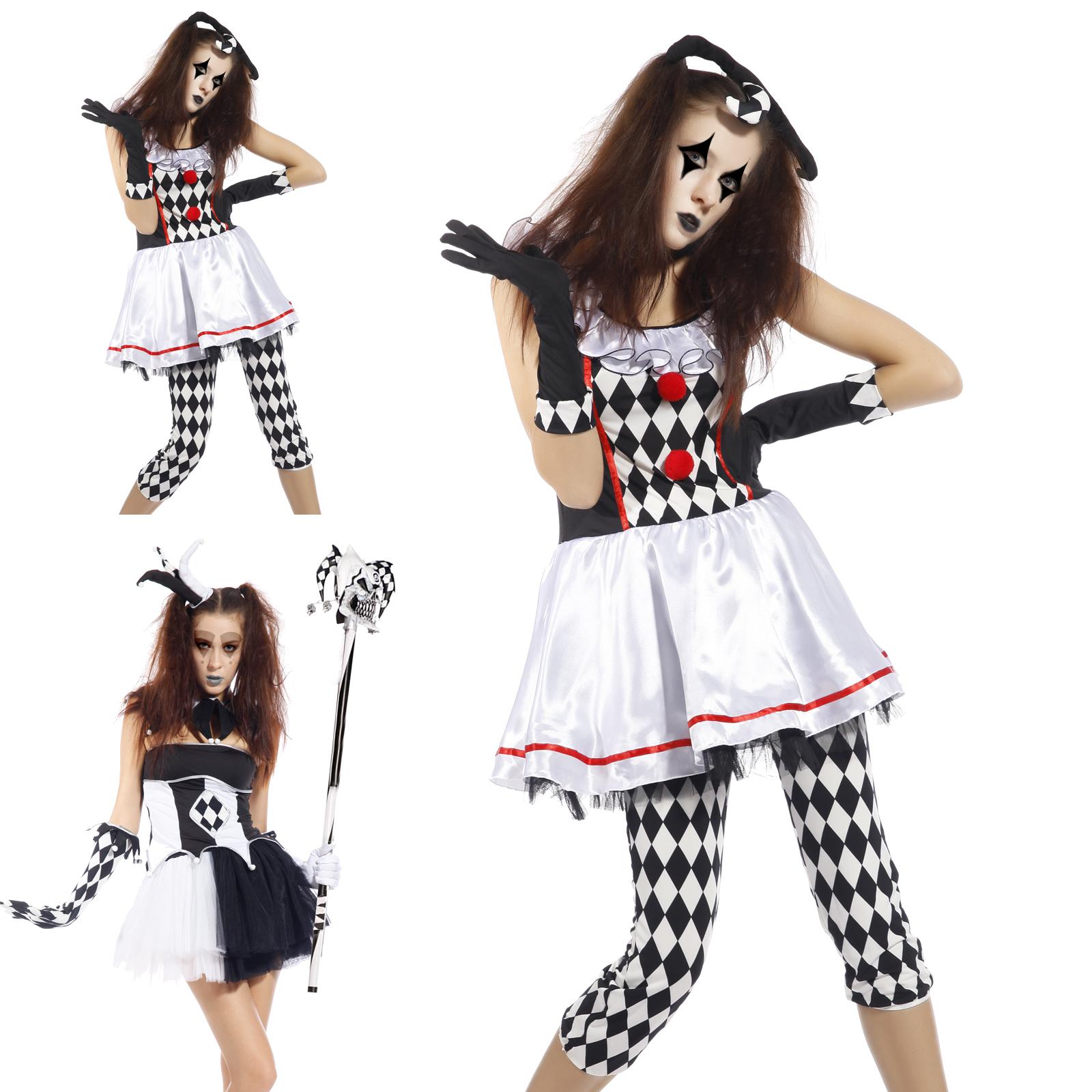 damen evil clown harley quinn kost m harlekin hofnarr. Black Bedroom Furniture Sets. Home Design Ideas