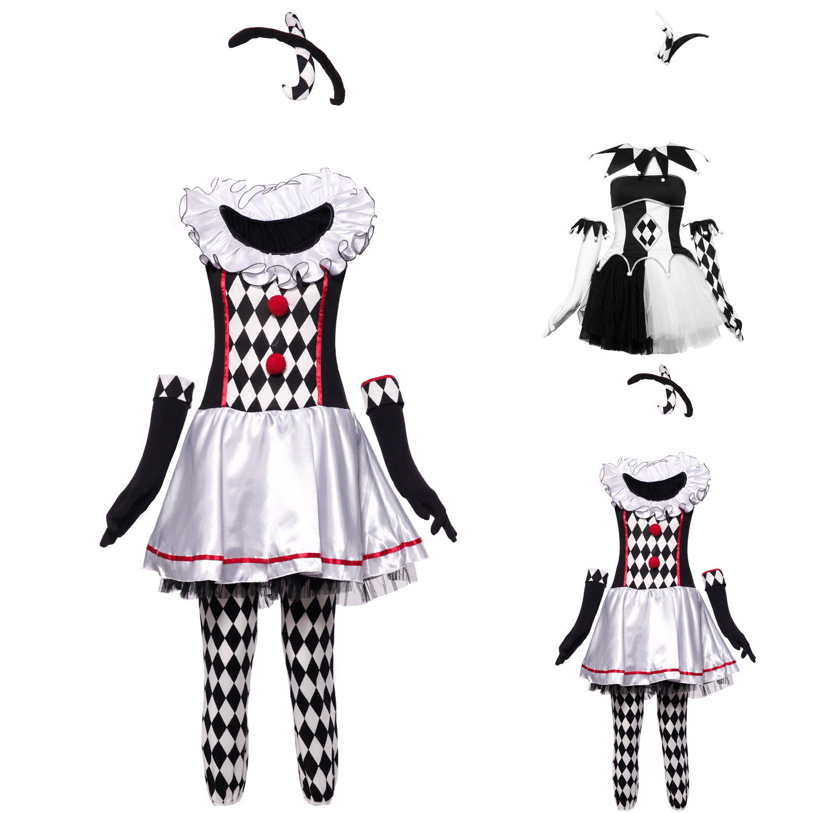 pierrot harlekin clown schwarz wei damen kost m karneval fasching circus outfit ebay. Black Bedroom Furniture Sets. Home Design Ideas