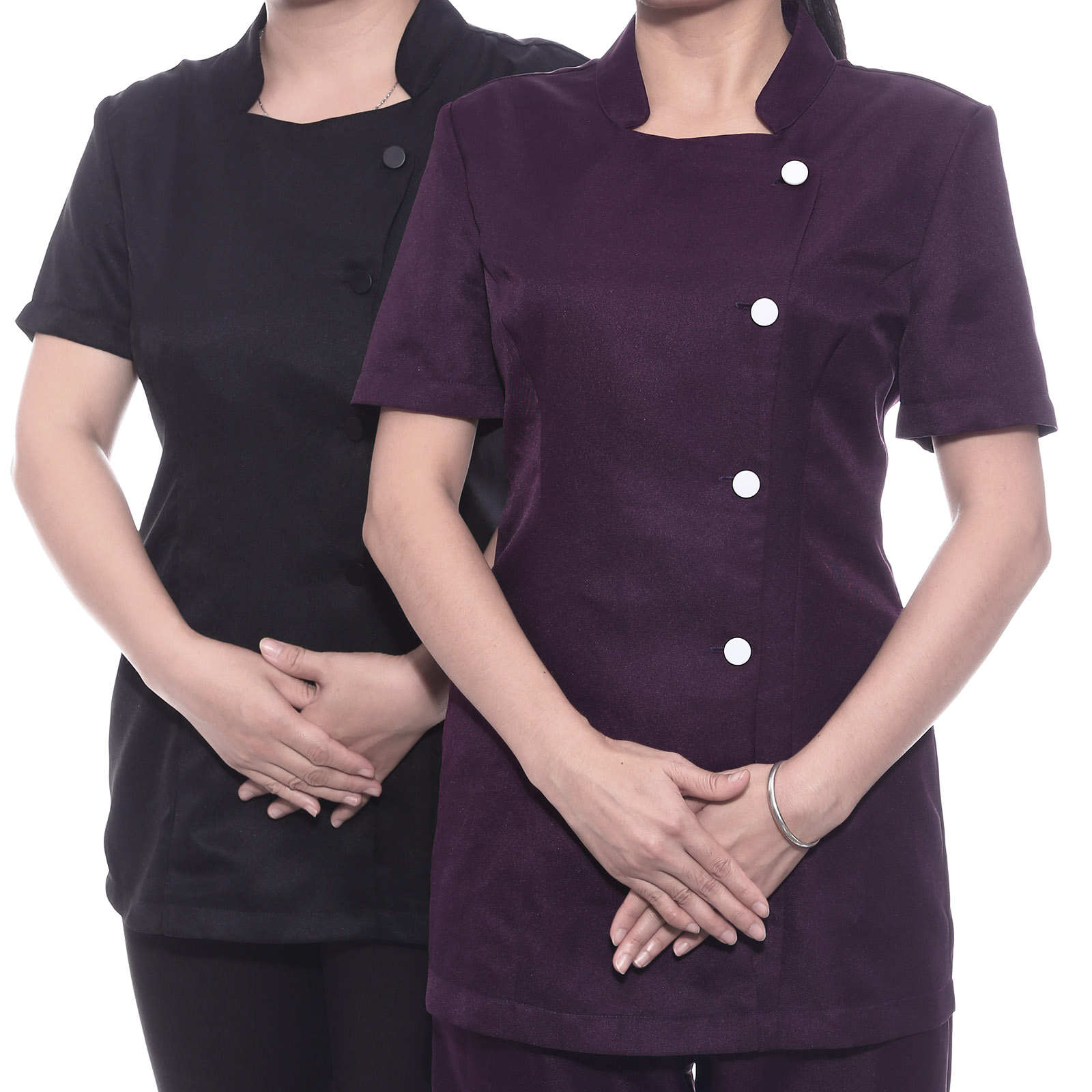 Womens spa beauty salon beautician tunic nail massage for Spa uniform colors