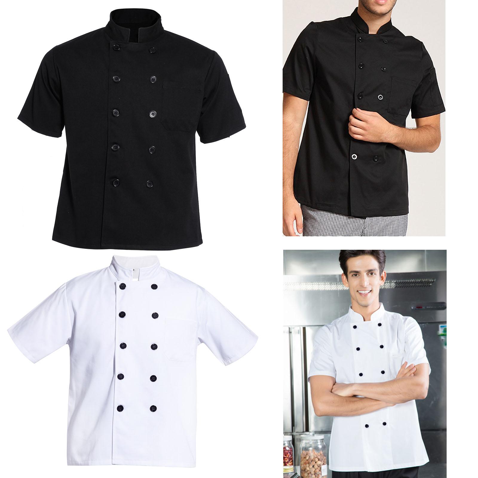 Black White Short Sleeve Chef Jacket Chefs Kitchen Work