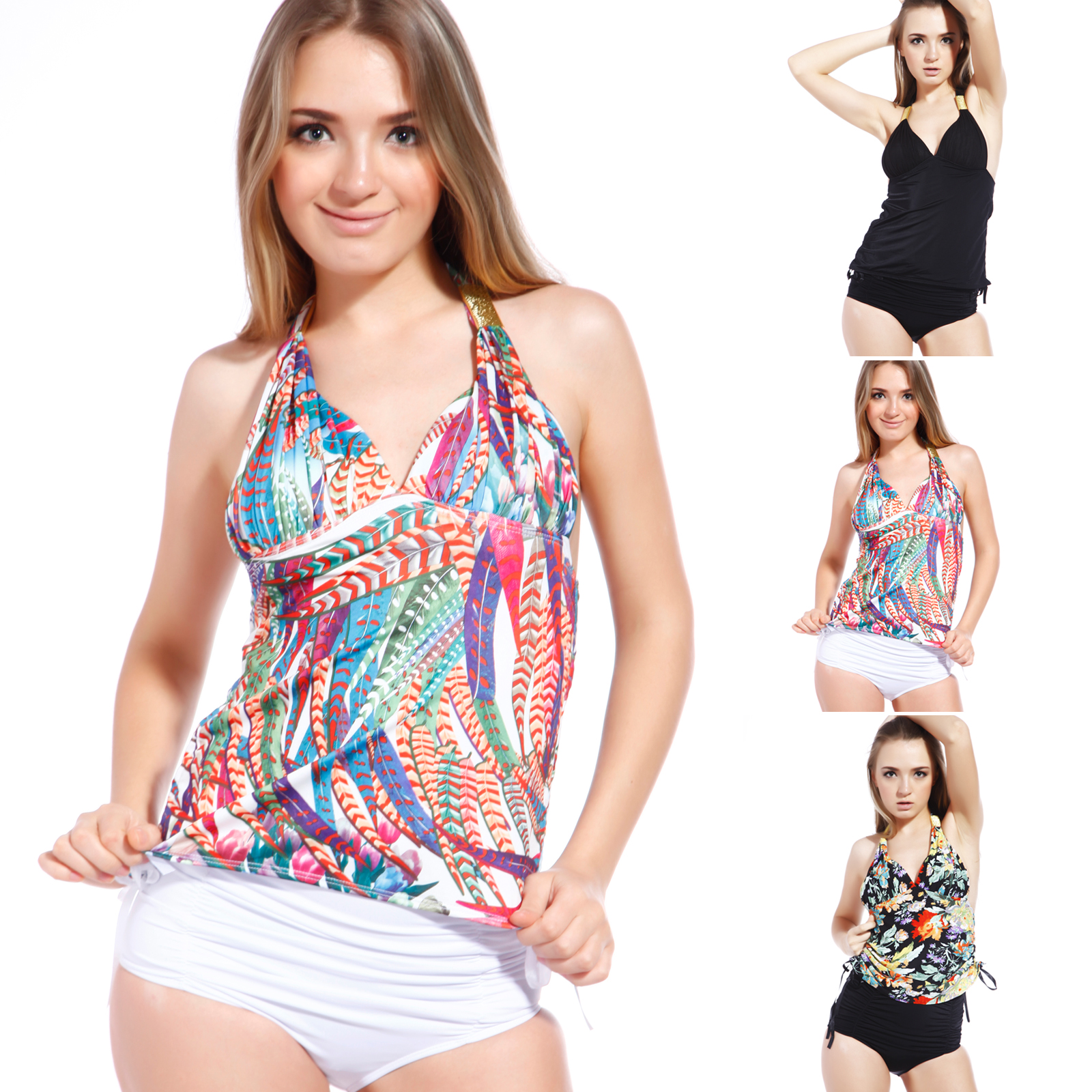 Exotic Ruched Halterneck Padded Plunge High waisted ...