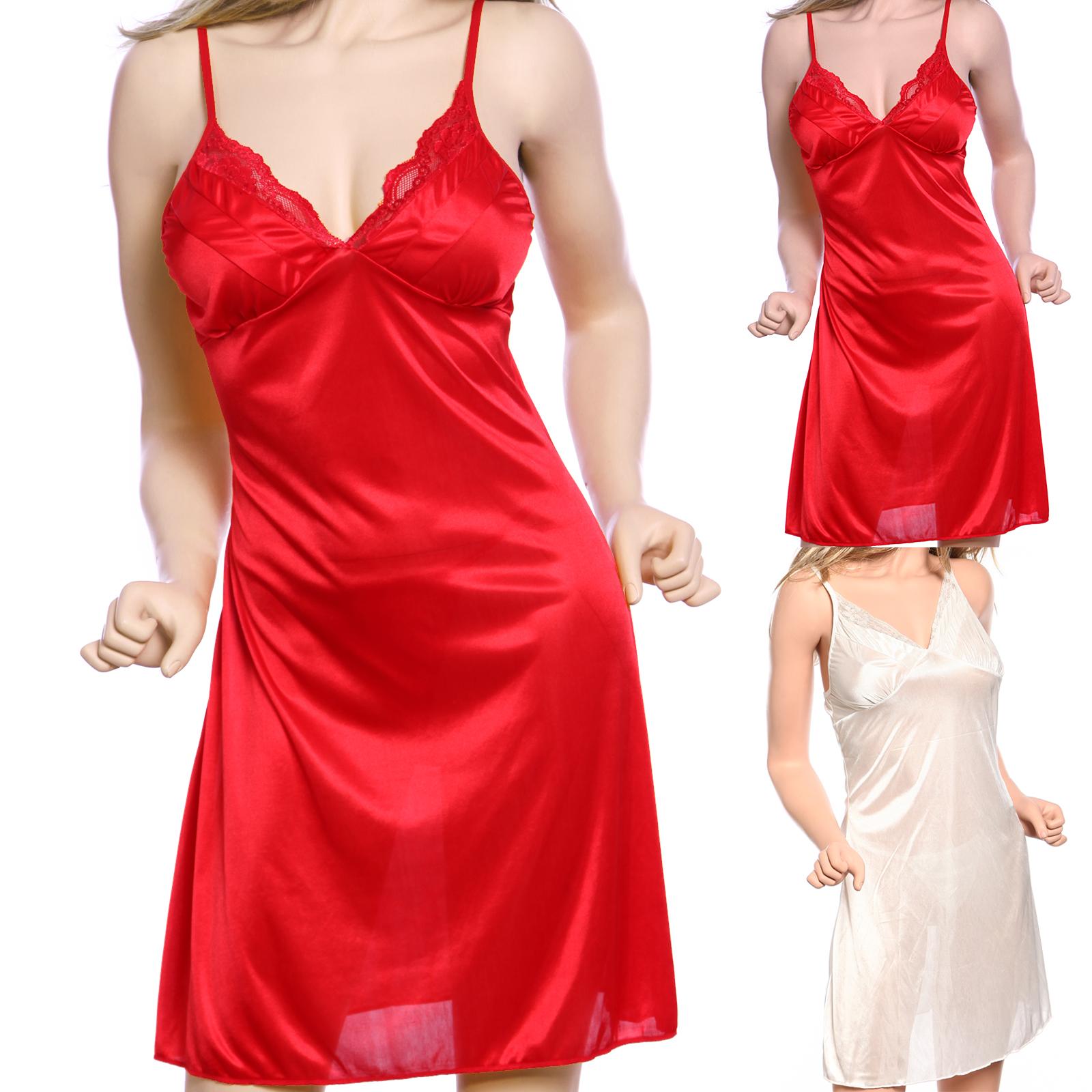 Vintage Satin lace trim Chemise Nightdress Full Slip Dress ...