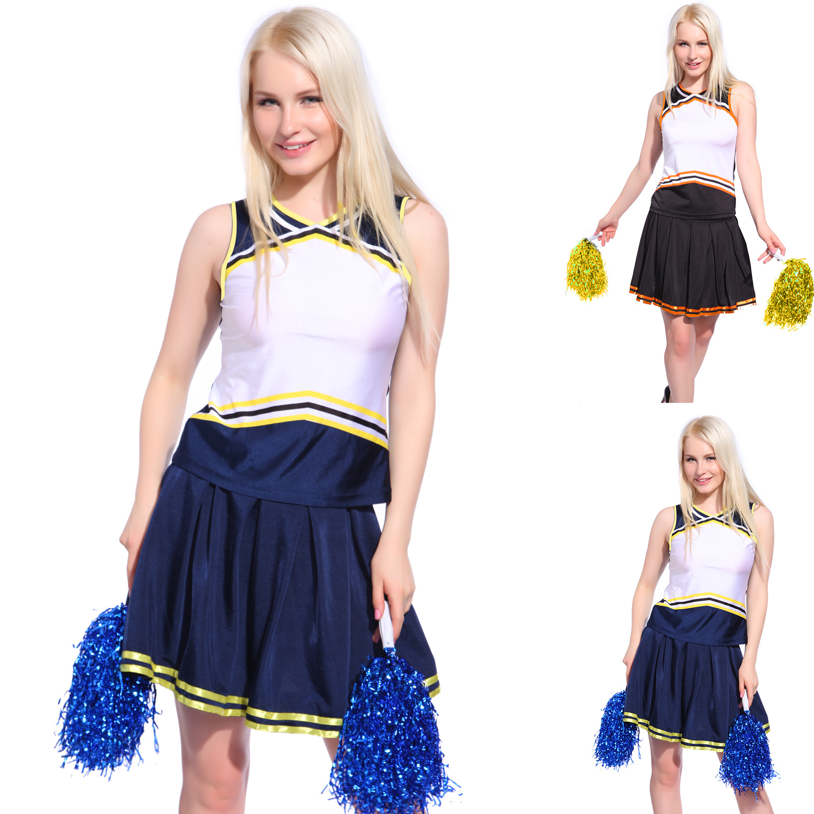Ladies Girls Blank Printed Cheerleader Uniform Cheerleading Costume DIY Outfit | eBay