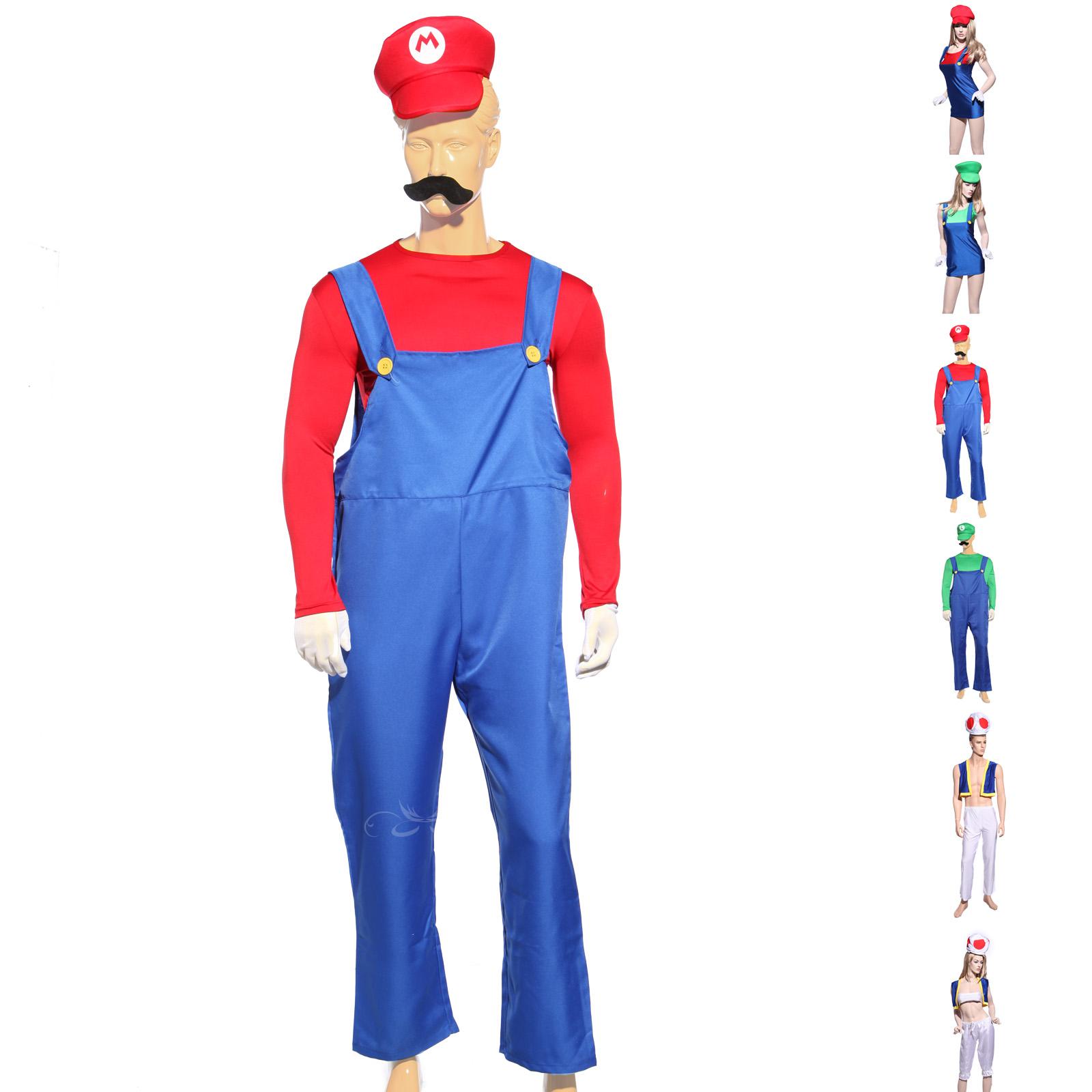 deguisement costume game jeu plumbier mario luigi toad frere homme femme s m l. Black Bedroom Furniture Sets. Home Design Ideas
