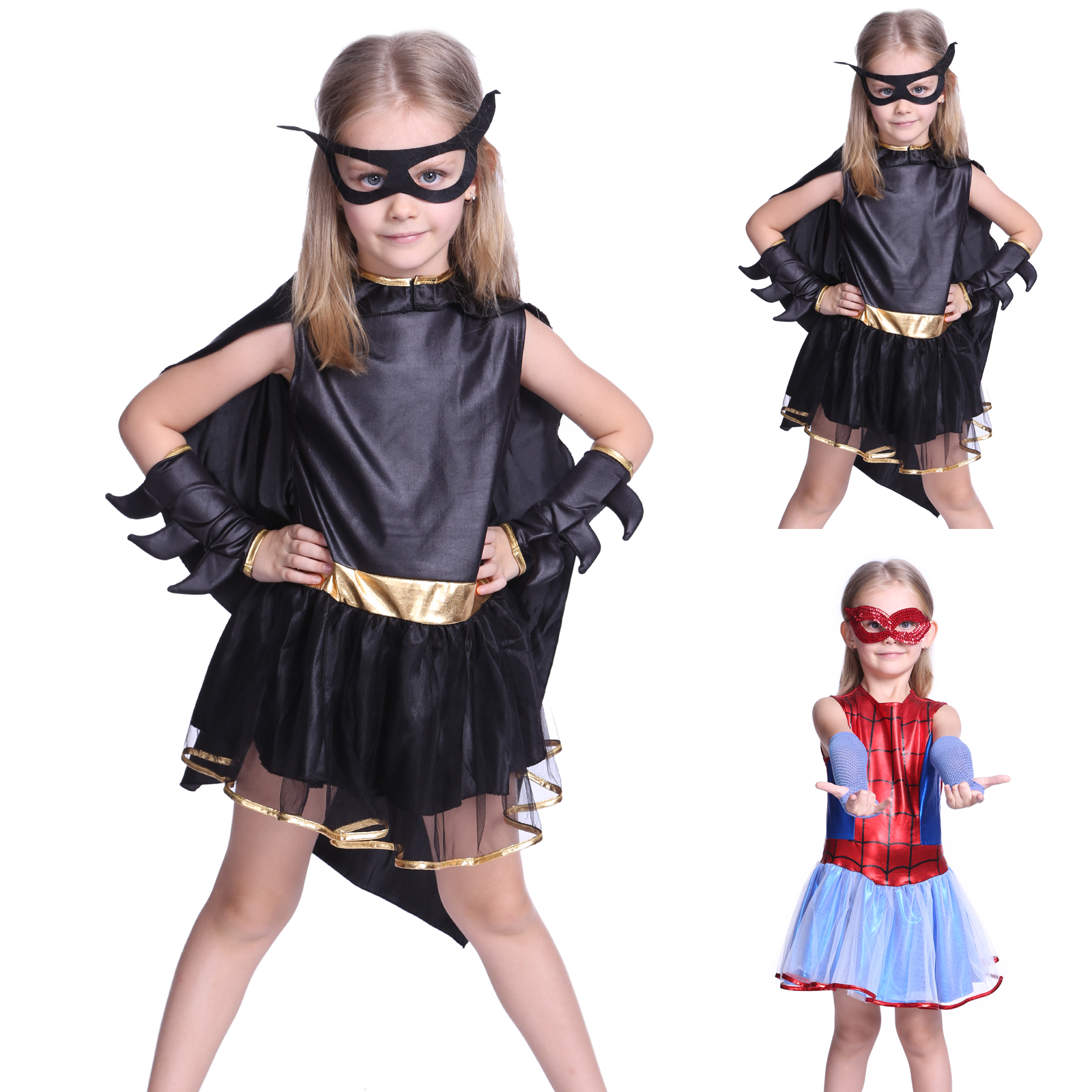spidergirl batgirl m dchen kinder kost m fasching halloween super hero. Black Bedroom Furniture Sets. Home Design Ideas