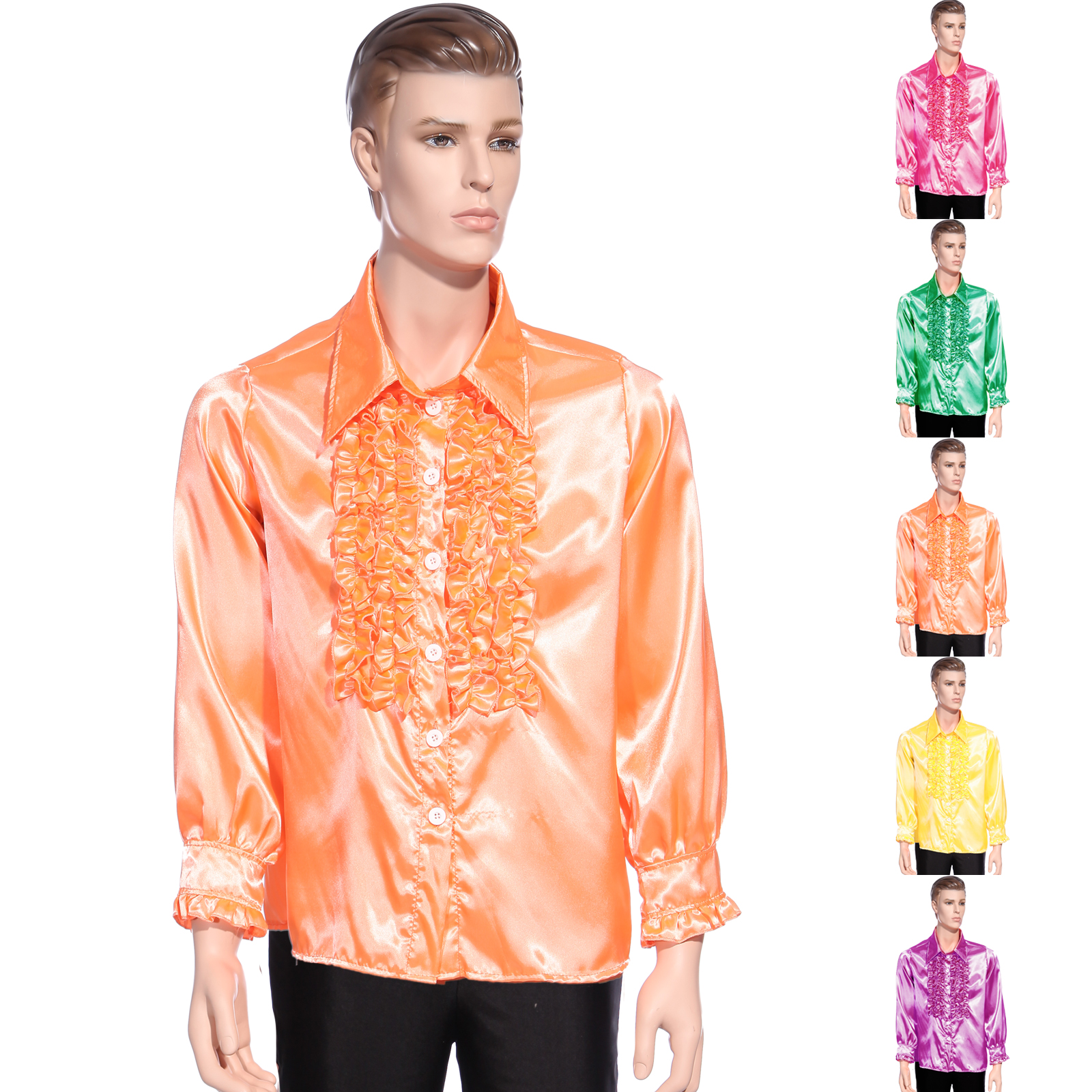 haut chemise a frou frou disco deguisement costume halloween homme annee 70 1970 ebay. Black Bedroom Furniture Sets. Home Design Ideas