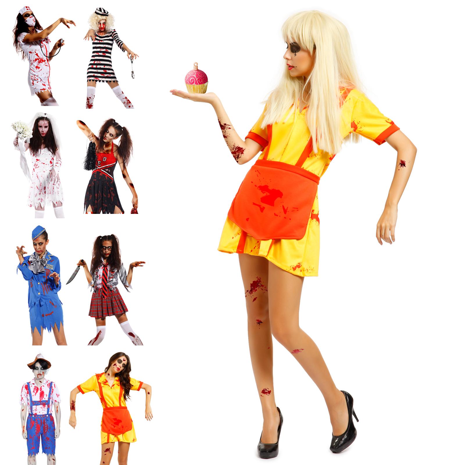 halloween zombie horror kost m damen erwachsene kost m fancy dress f r karneval ebay. Black Bedroom Furniture Sets. Home Design Ideas