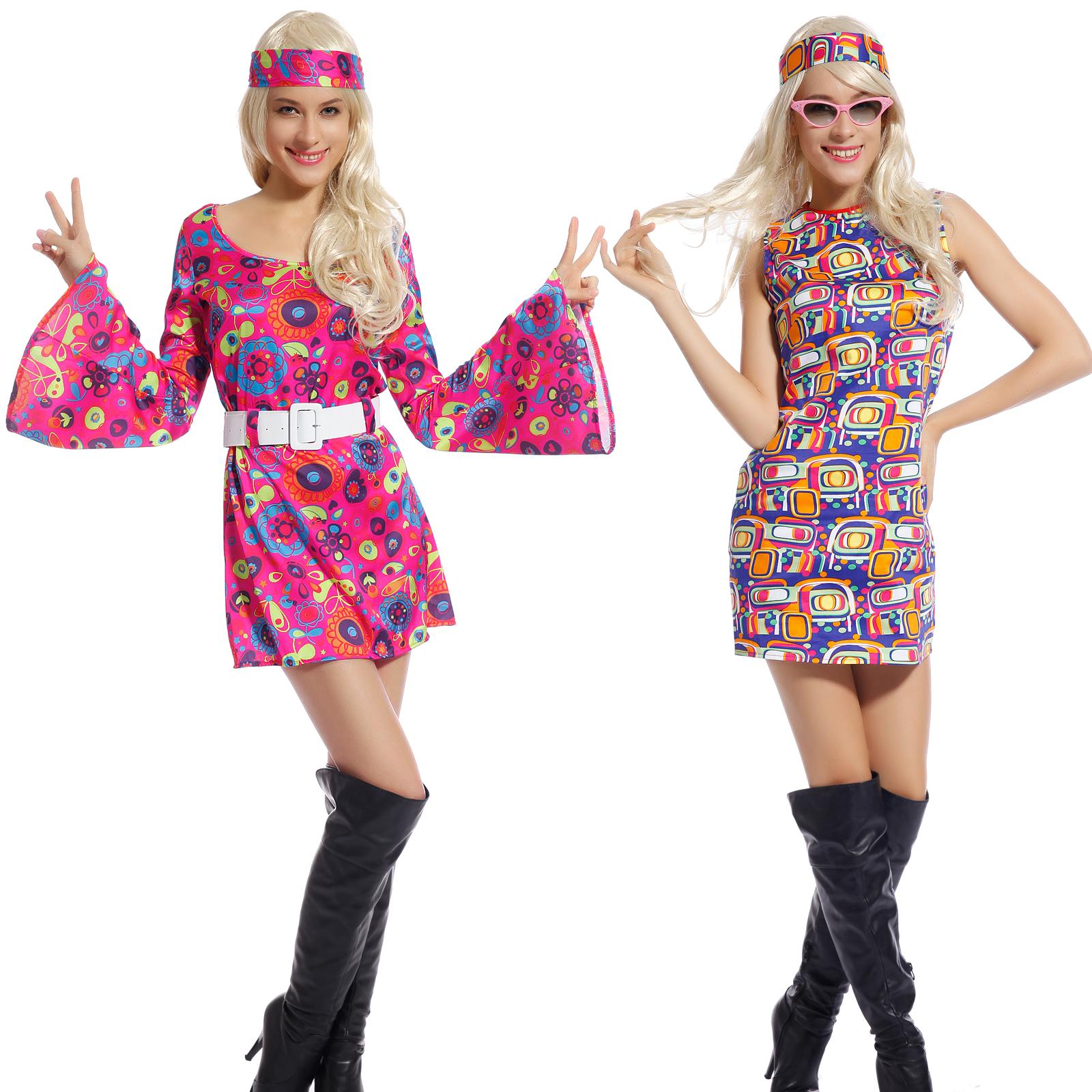 Retro Flower Go-Go Dress Groovy Hippie Girl Fancy Dress ...
