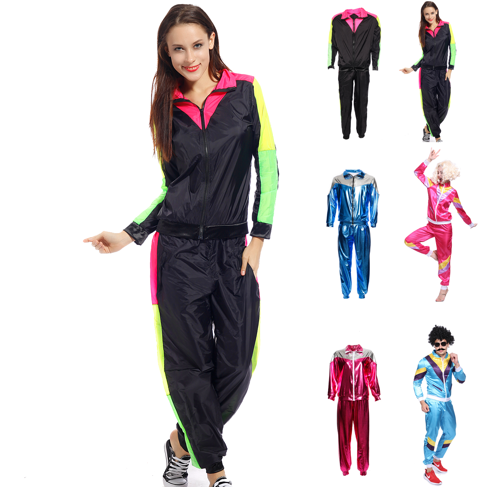 80s Height Fashion Womens Mens Shell Suit Scouser Tracksuit Costume