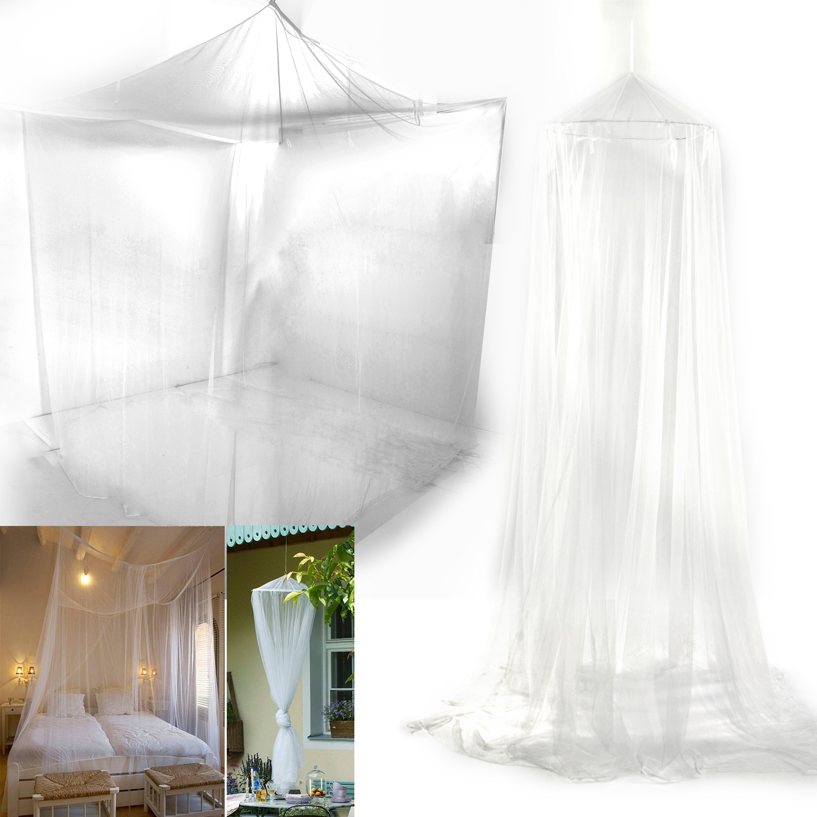 Mosquito Net Fly Insect Midges Protection King Bed Canopy Netting Curtain Uk