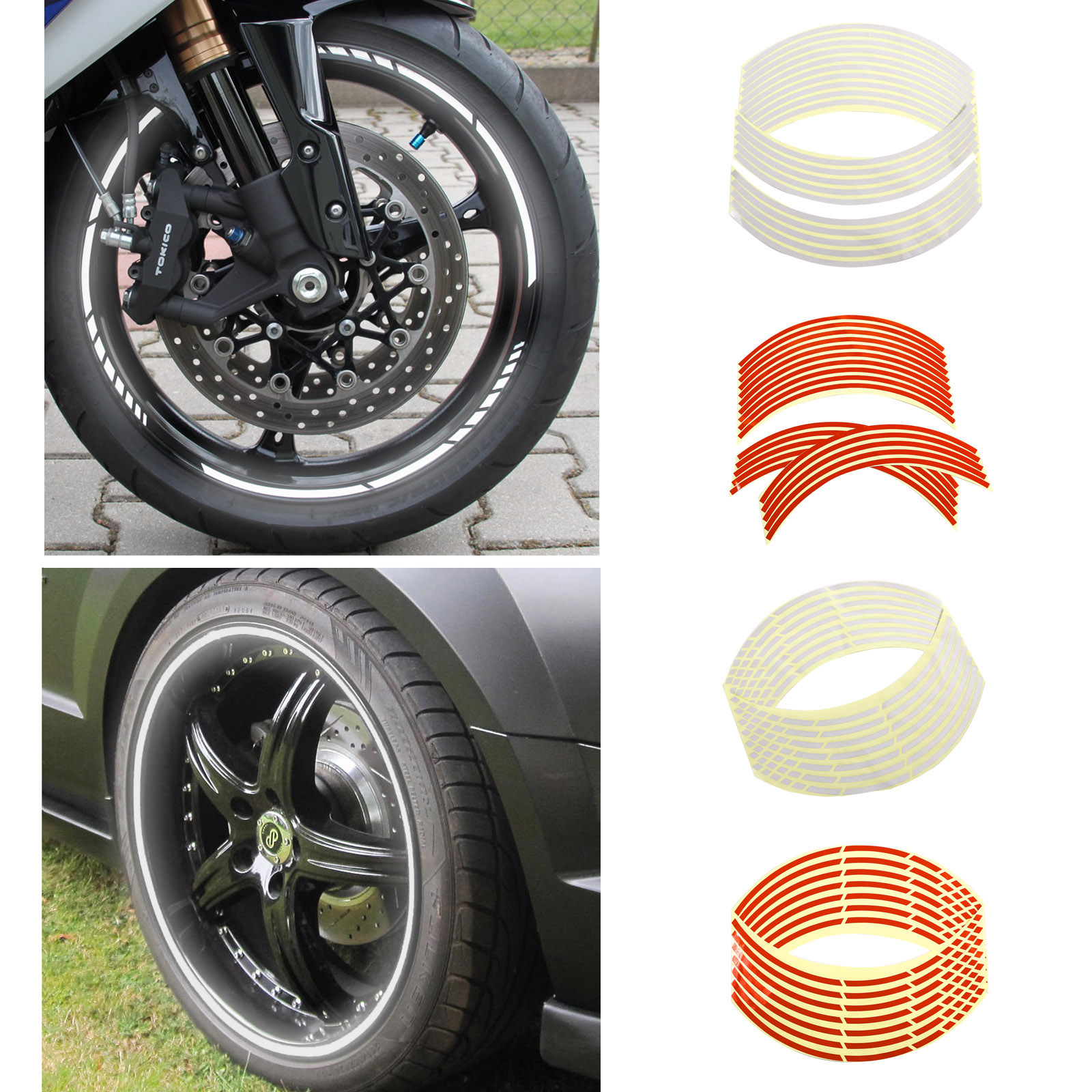 rouge blanc 18 liseret r fl chissant bande roue jante moto auto ebay. Black Bedroom Furniture Sets. Home Design Ideas
