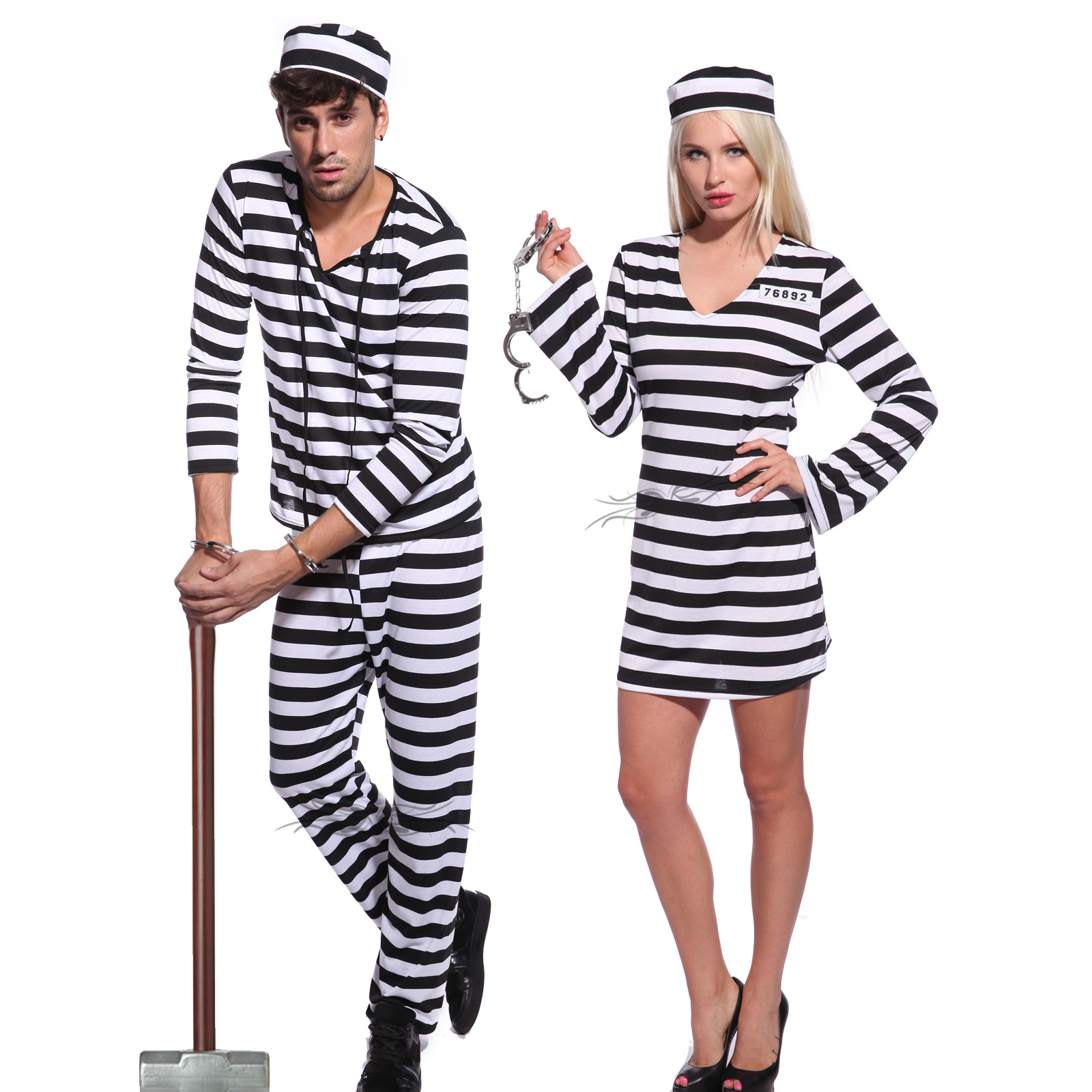 Adult Couples Jail Prisoner Jailbird Convict Costume Halloween Hen ...