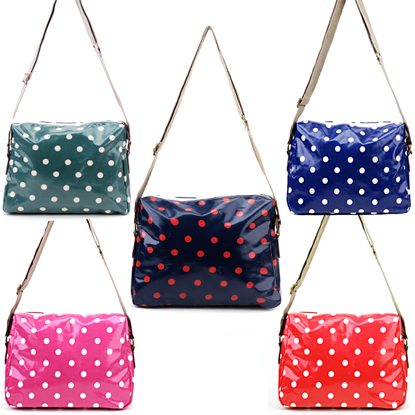 Girls oilcloth polka dots bag messenger crossbody satchel for Au maison oilcloth uk