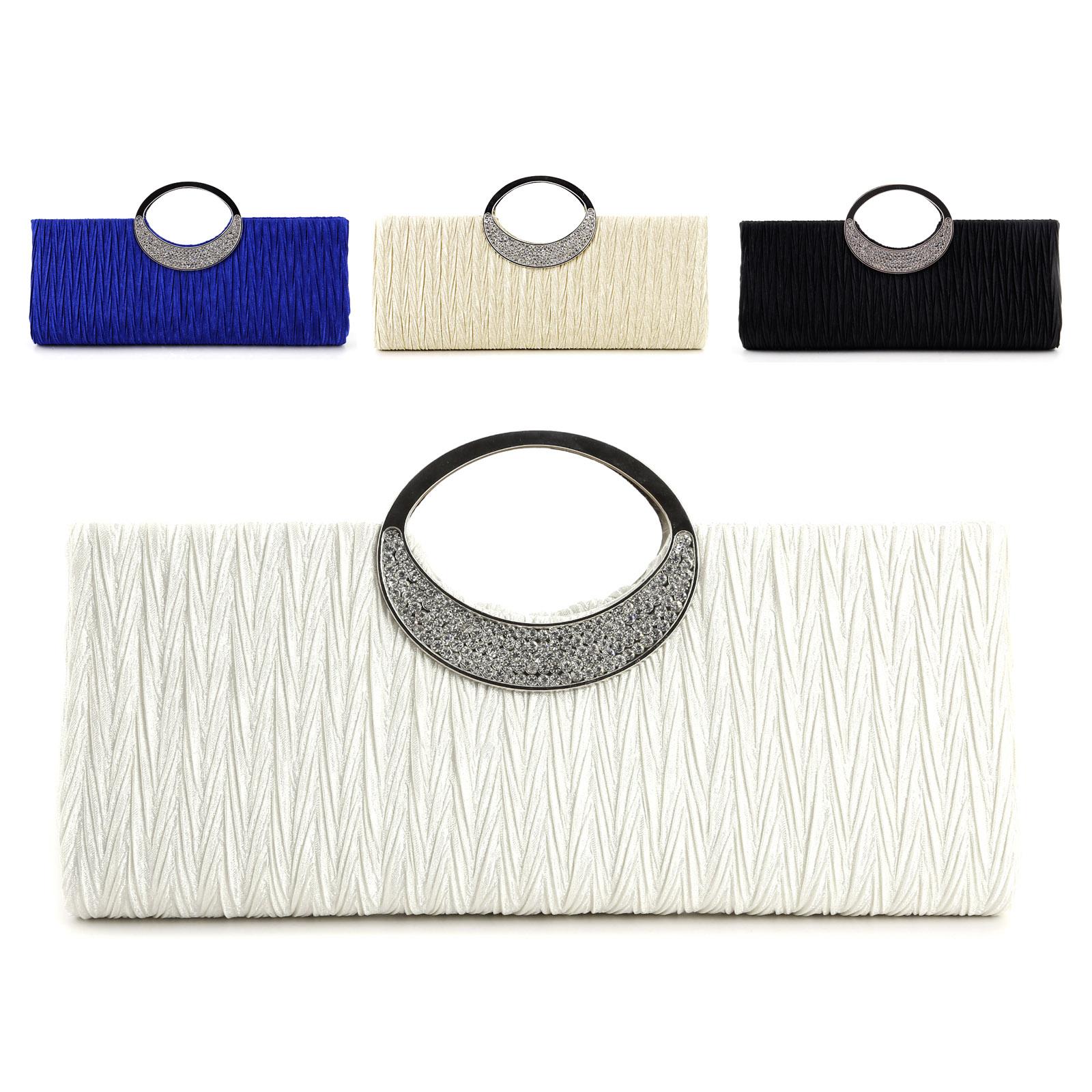 Mode-Damen-Abendtasche-Handtasche-Brauttasche-Krause-Satin-Tasche