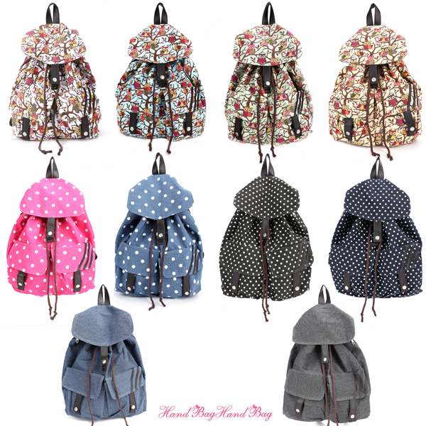 Cartoon Owl polka dot Canvas Backpack Rucksack School Bag 2 Pocket ...