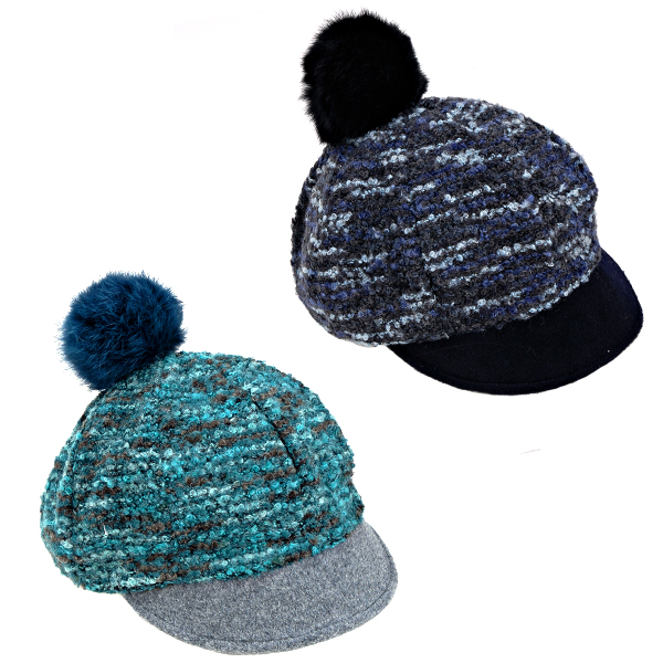 Knitting Pattern For Peaked Beanie : Ladies SKI Warm Winter Knitted Peaked Beanie Bobble Hat ...