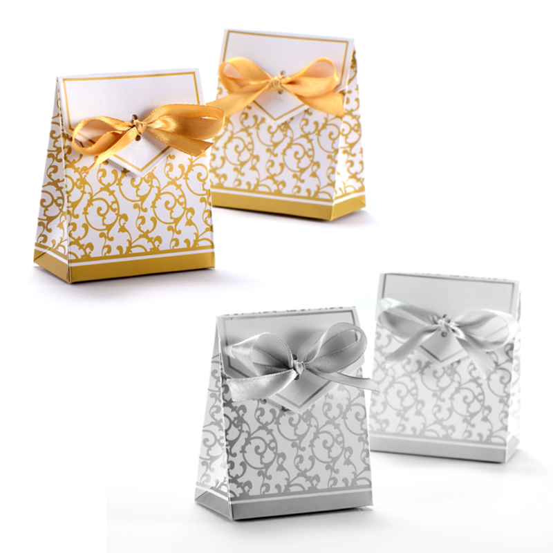 Wedding Gift Boxes: 50pcs Candy Boxes With Ribbon Wedding Party Favor Gift Box