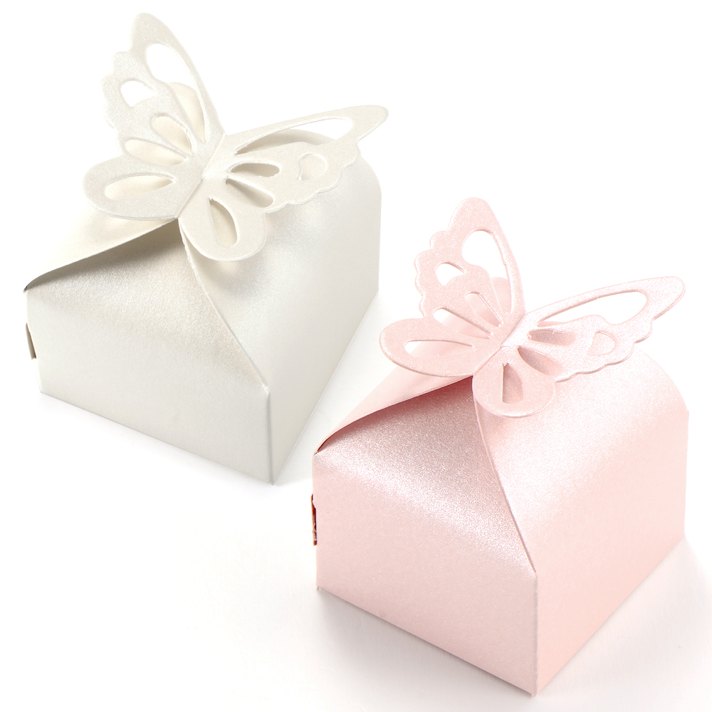 Wedding Favour Gift Boxes Uk : ... 50pcs Butterfly Style Wedding Favour Boxes Candy Gift Boxes Pink White