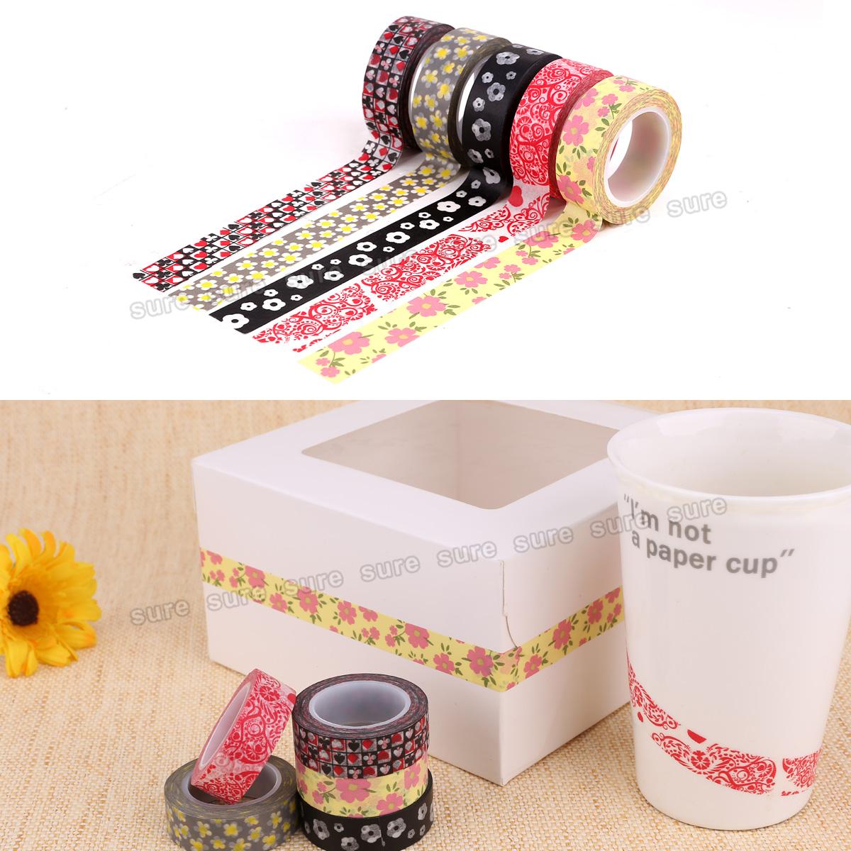 5er washi masking tape blume bl te klebeband papierband scrapbooking 15mm 10m ebay. Black Bedroom Furniture Sets. Home Design Ideas
