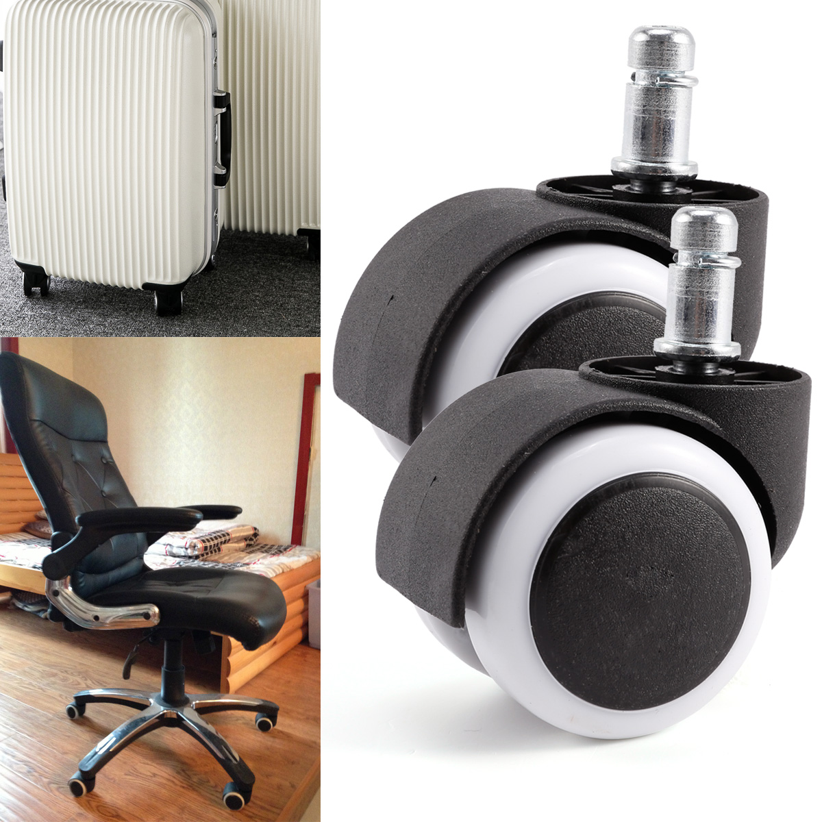office chair castor wheels non marking rubber set of 10 twin casters