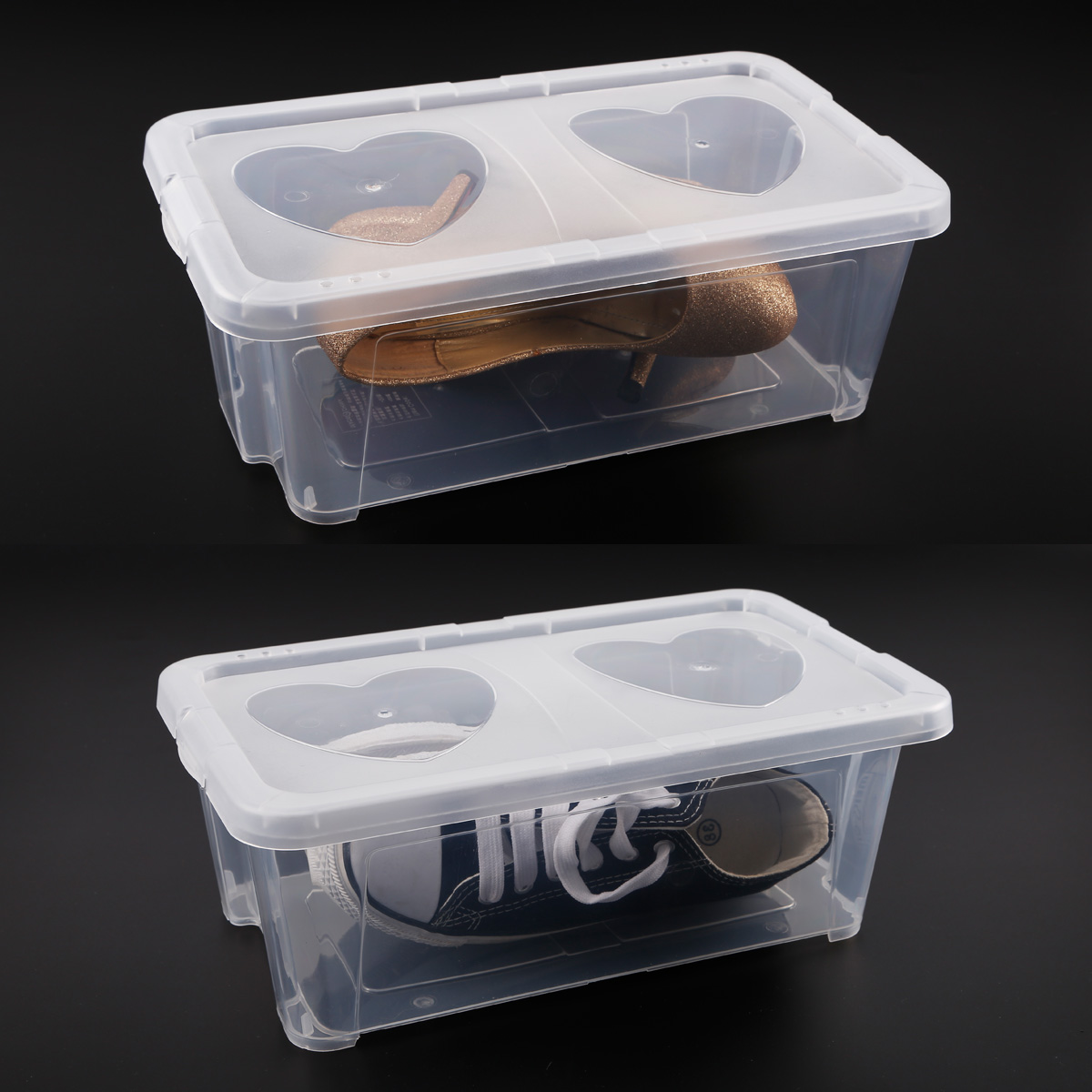 clear plastic mens shoe storage box stacking