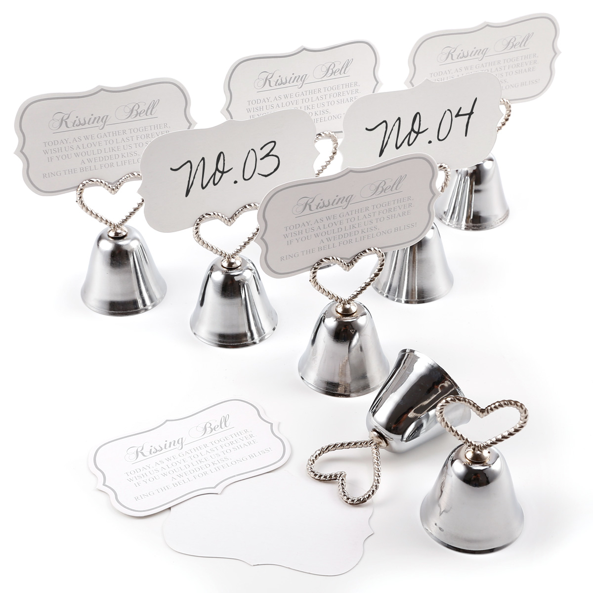 Kissing Bell Silver Place Card Holders Photo Holders Set Of 8 Wedding Favors