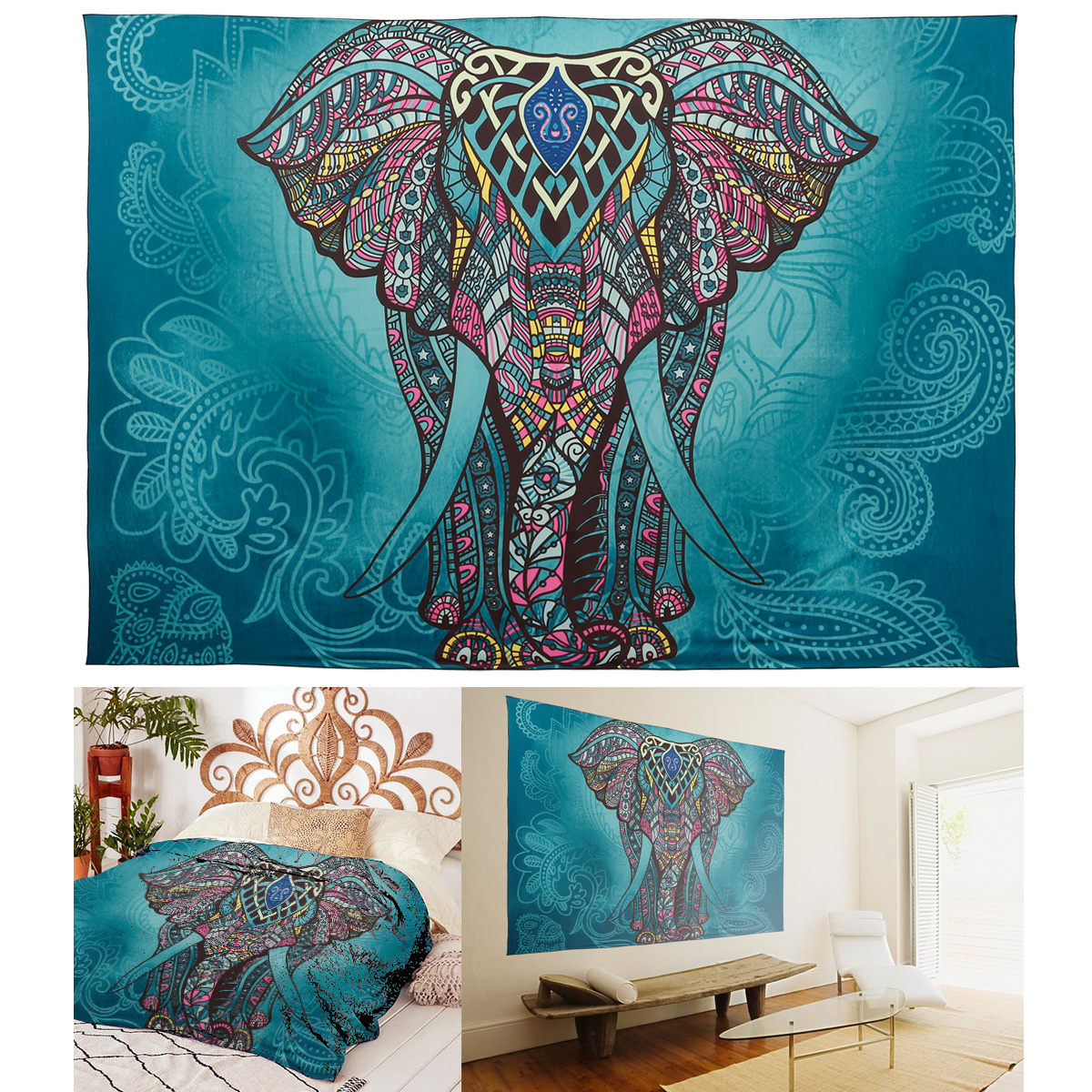 indisch mandala bunt elefant design tagesdecke wandbehang decor deko wurf 77 ebay. Black Bedroom Furniture Sets. Home Design Ideas