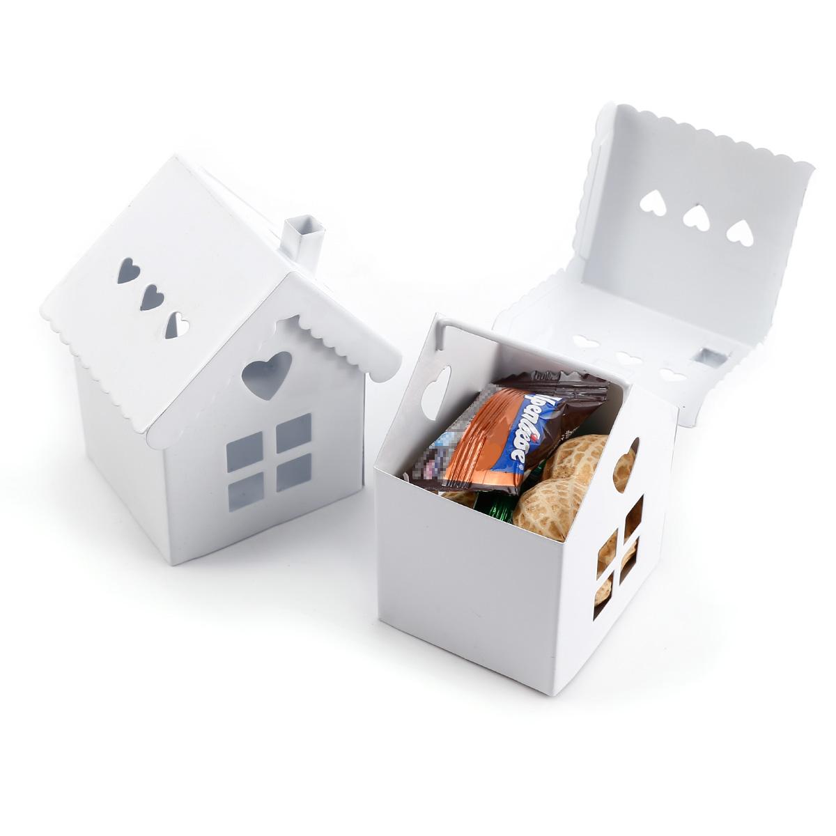6 stk mini weiss haus bunt gastgeschenk hochzeit s igkeiten tischdeko basteln ebay. Black Bedroom Furniture Sets. Home Design Ideas