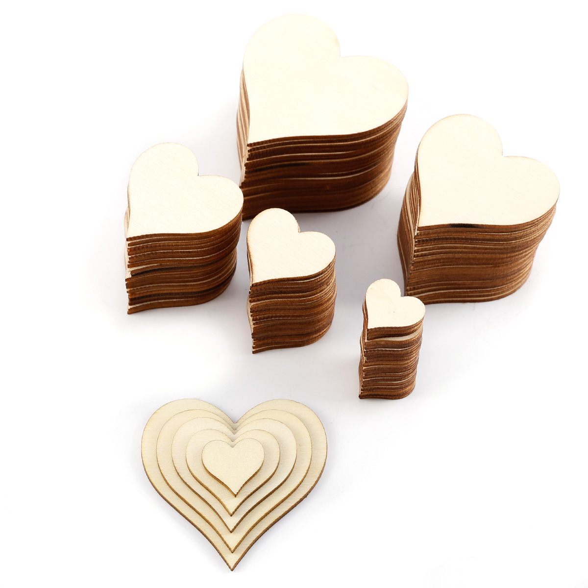 Solid wooden love heart shapes craft supplies shapes large for Wooden hearts for crafts