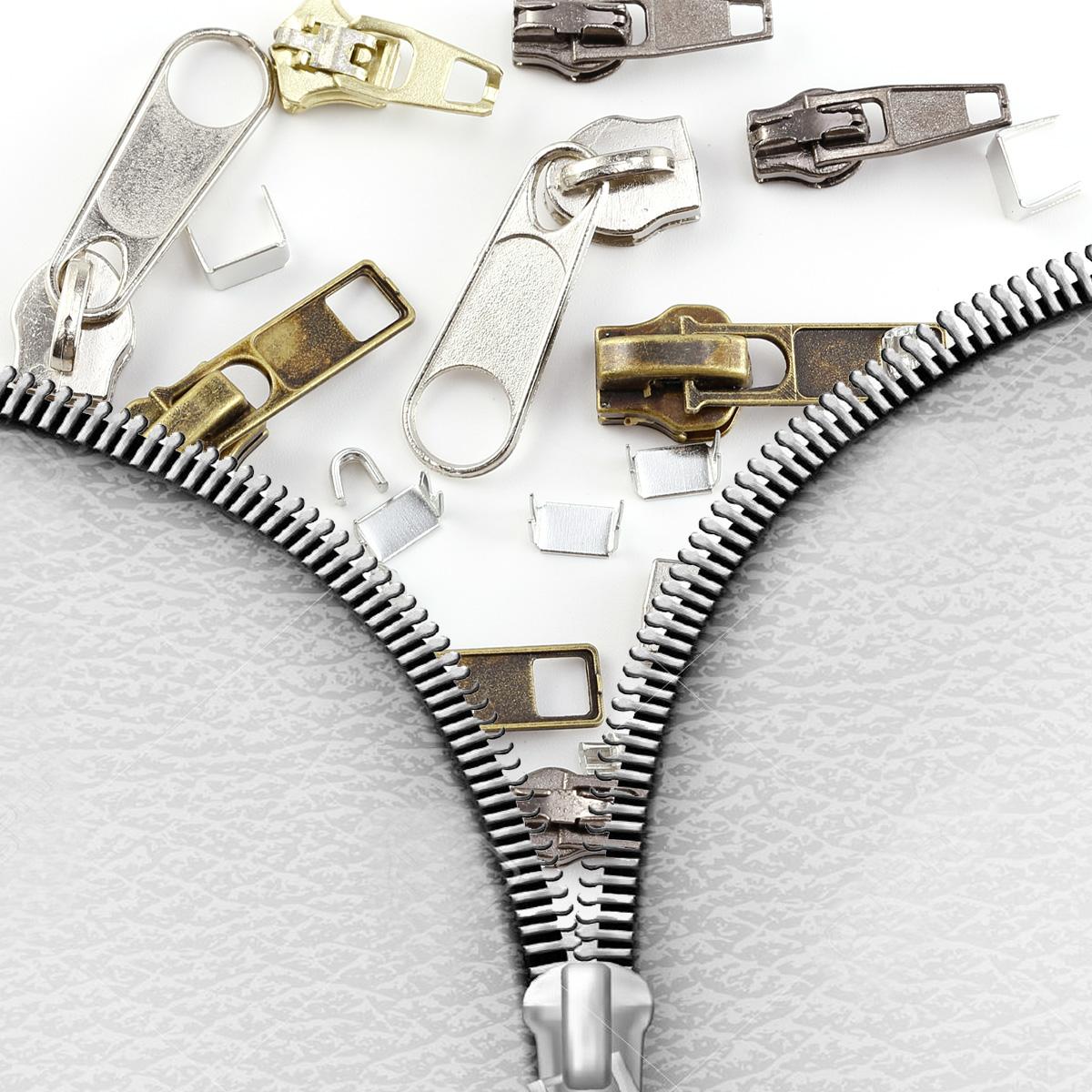22 zipper tab replacement tab repair kit fix puller mend jacket coat trouser zip. Black Bedroom Furniture Sets. Home Design Ideas