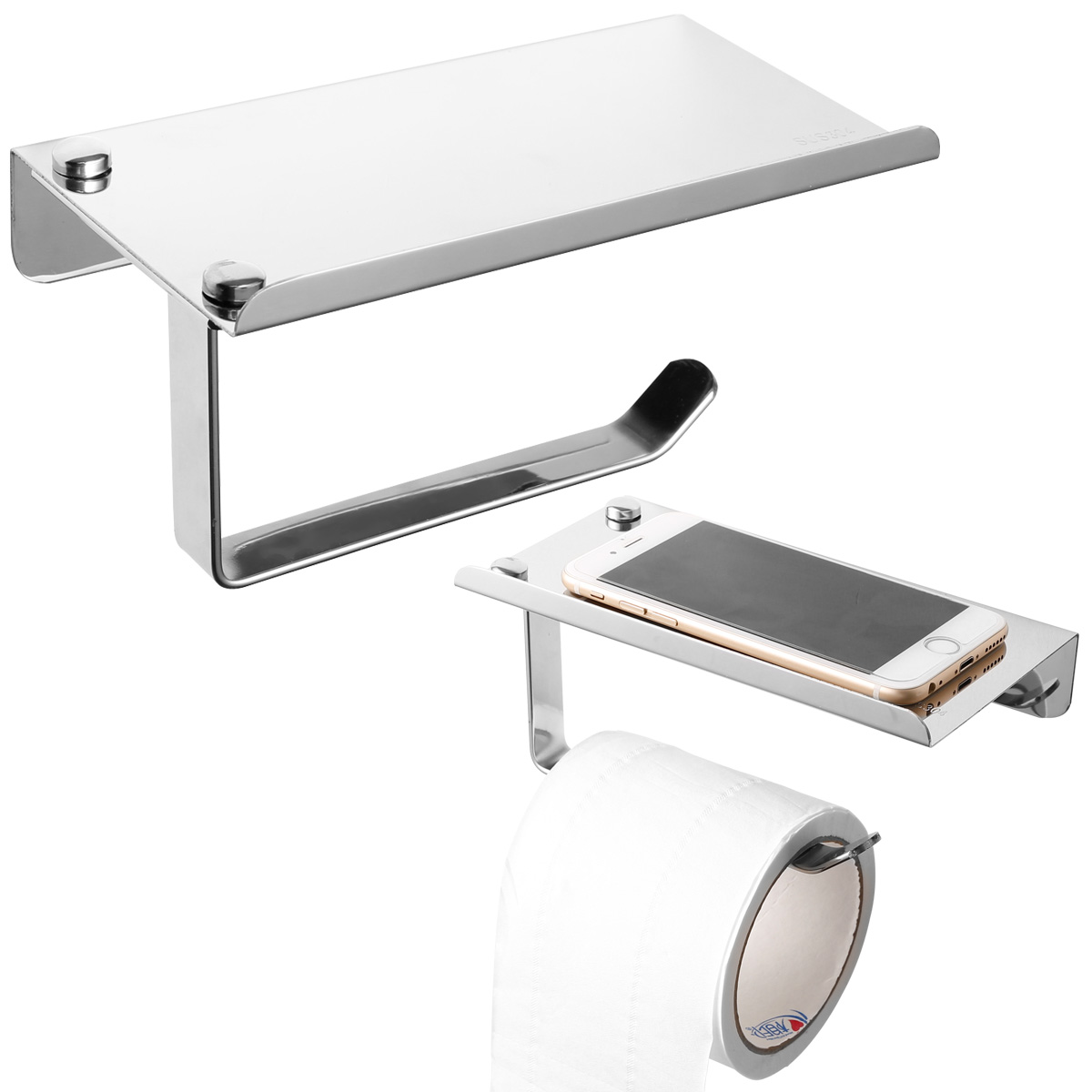 Silver Stainless Steel Bathroom Toilet Roll Holder Wall