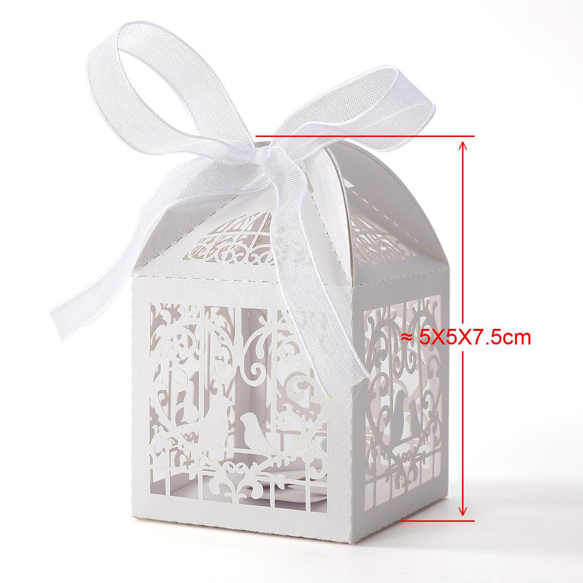 50x bo te drag es bonbons oiseaux coeur cage blanc pour mariage bapt me ebay. Black Bedroom Furniture Sets. Home Design Ideas