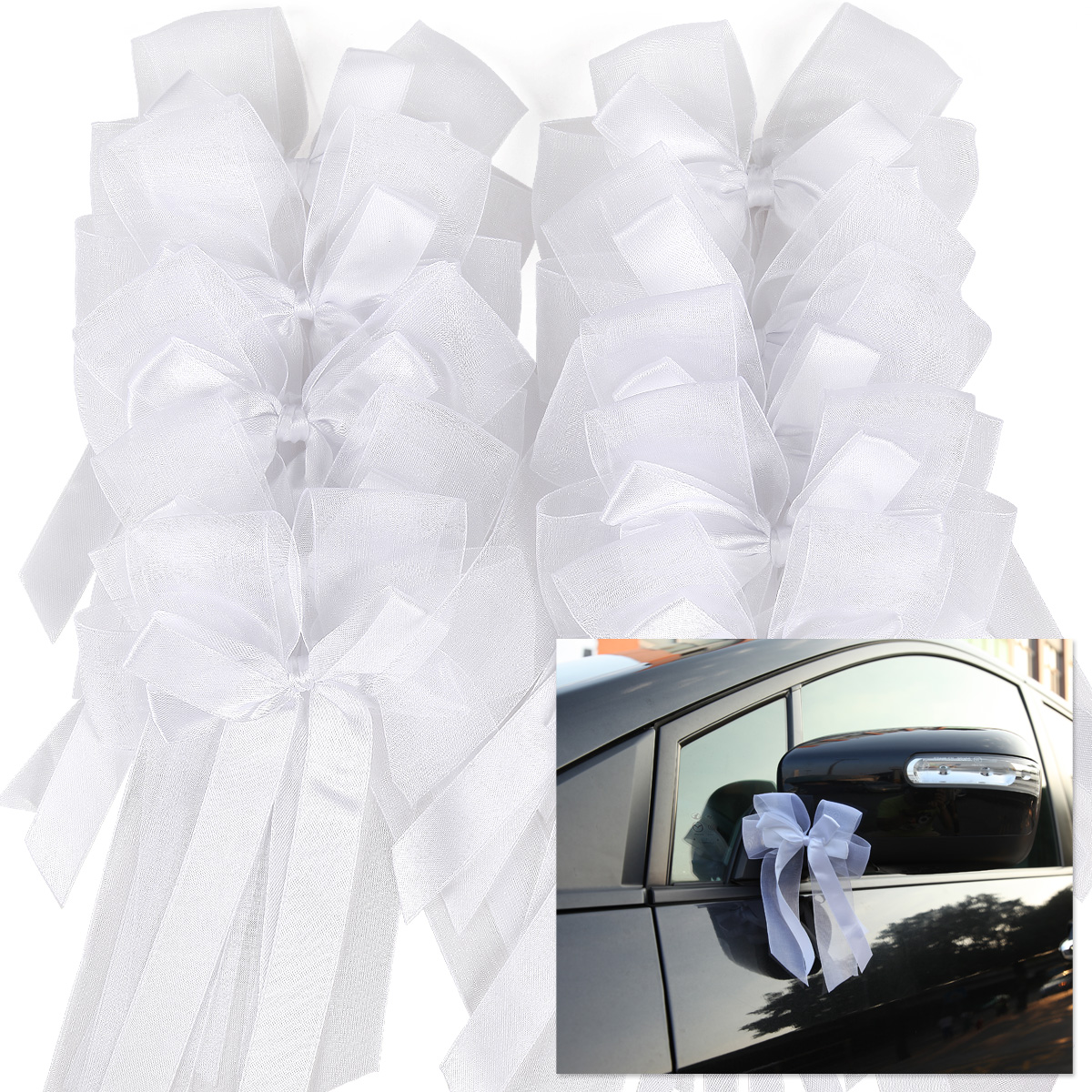 10x noeud papillon ruban satin tulle mariage voiture ftes dcoration 057 - Noeud Pour Voiture Mariage Tulle