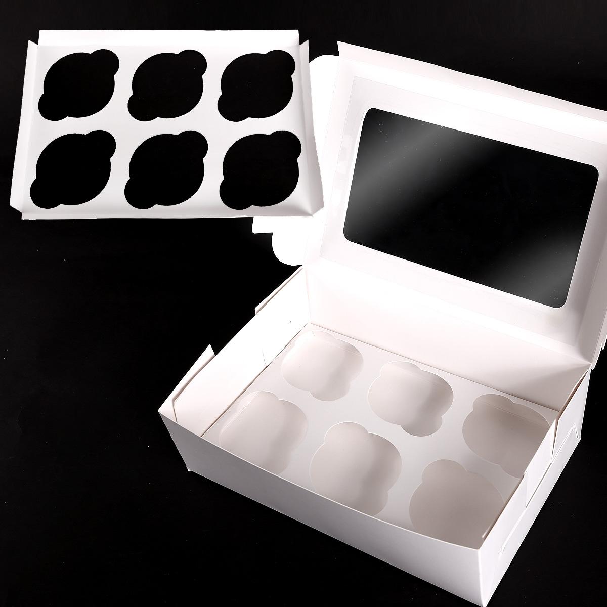 12X Boîte Cadeau Pour 6 Cupcakes Gâteau Muffin Pâtisserie EN Blanc