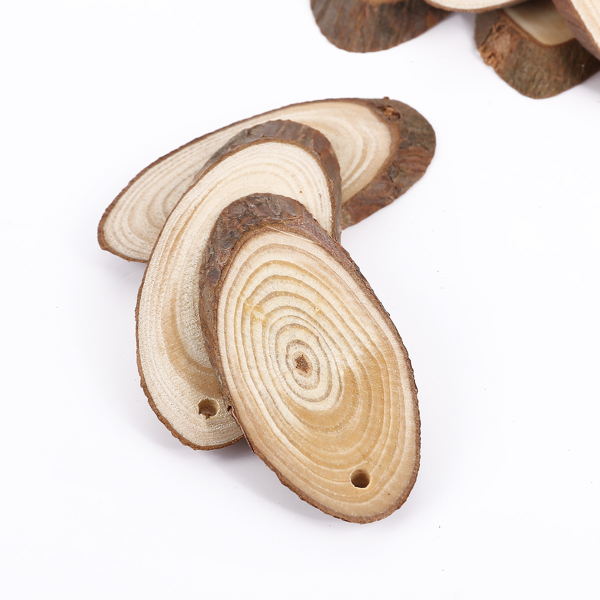 Wood slices 25pcs cut pieces oval log bark natural wedding for How to cut wood slices