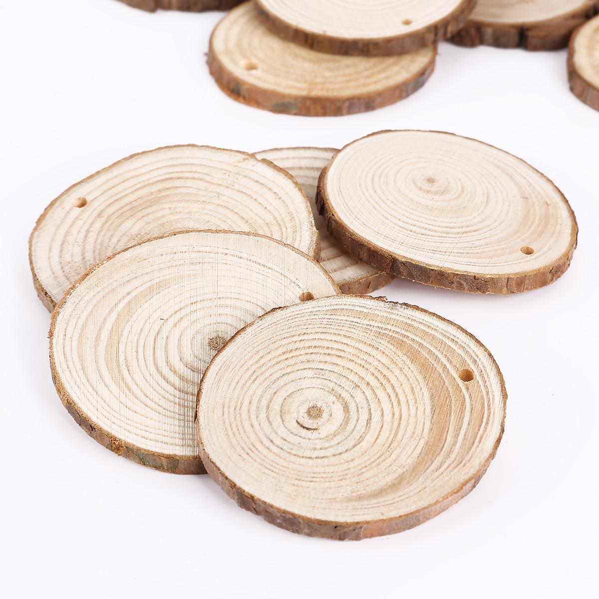 Round wooden wood log slice natural tree bark table