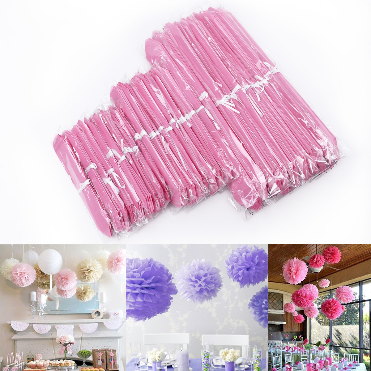 30er rosa papier pompon pompoms hochzeit party feier. Black Bedroom Furniture Sets. Home Design Ideas
