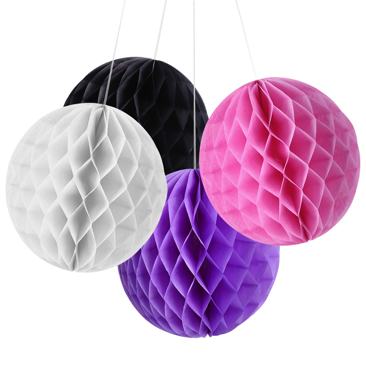 8x 25cm honeycomb ball paper lanterns hanging wedding party decorations black ebay - Hanging paper balls decorations ...